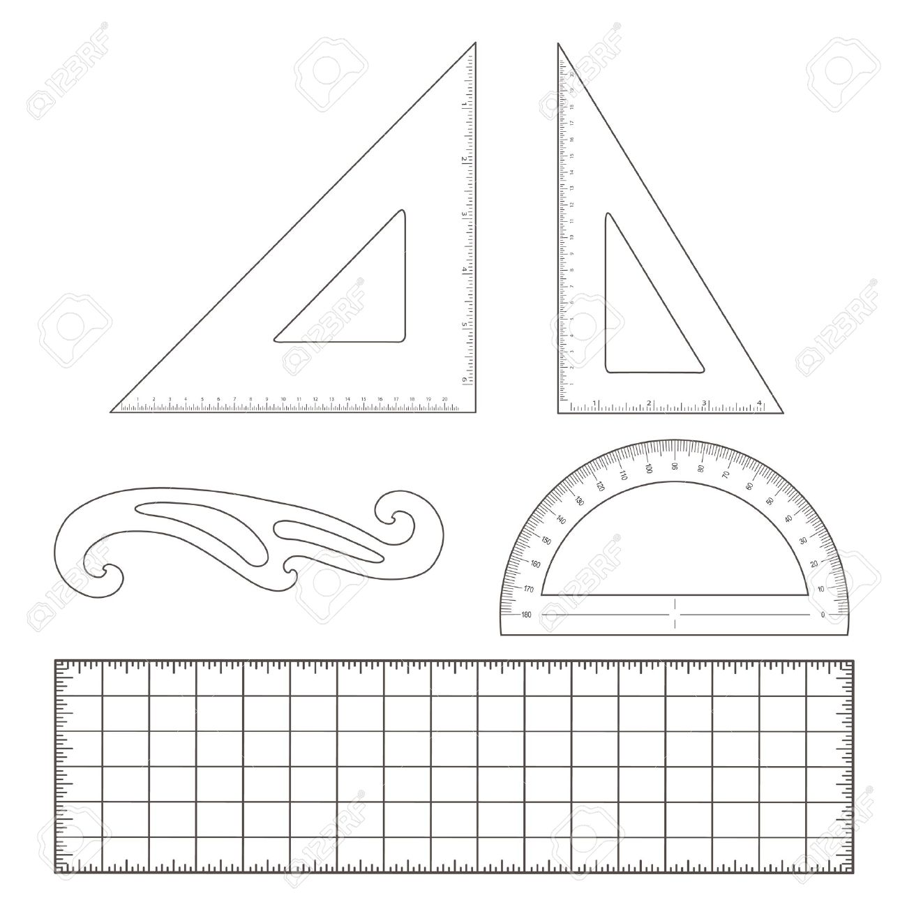 Drafting Tools For Architecture And Engineering 45 Degree Triangle, 60  Degree Triangle, Ruler,