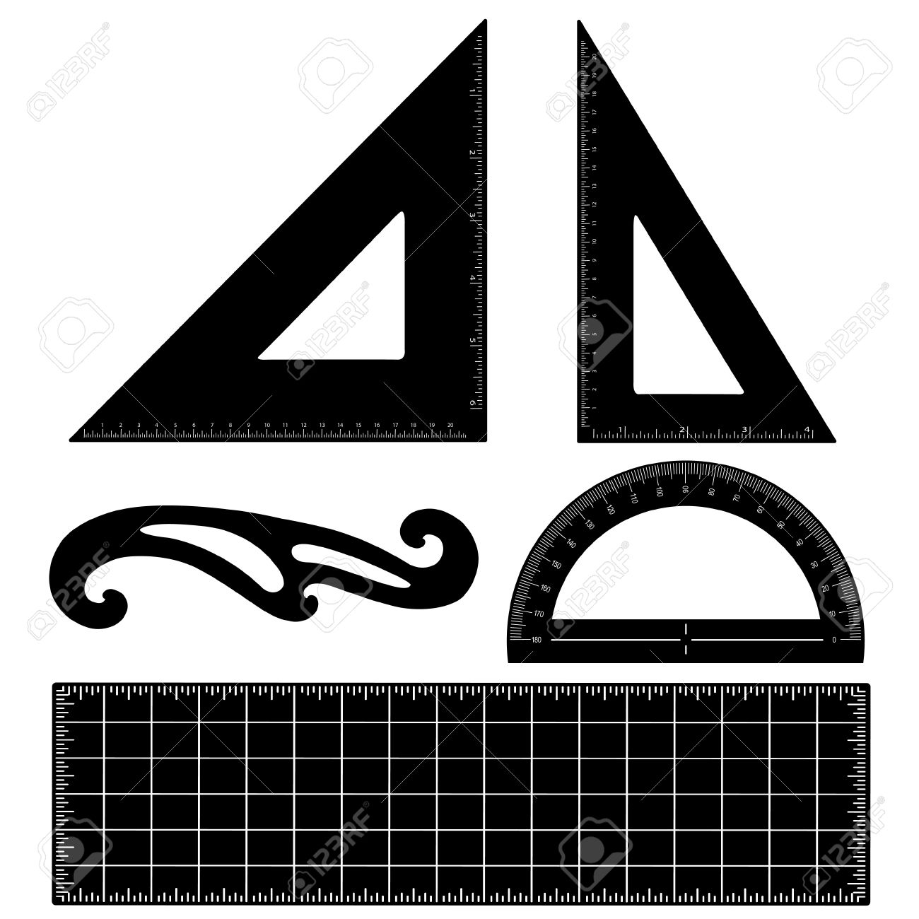 Drafting Tools For Architecture And Engineering Triangles, Ruler ...