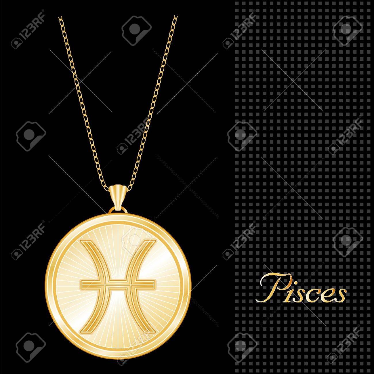 Pisces pendant gold necklace and chain engraved astrology water pisces pendant gold necklace and chain engraved astrology water sign symbol star burst design mozeypictures Choice Image