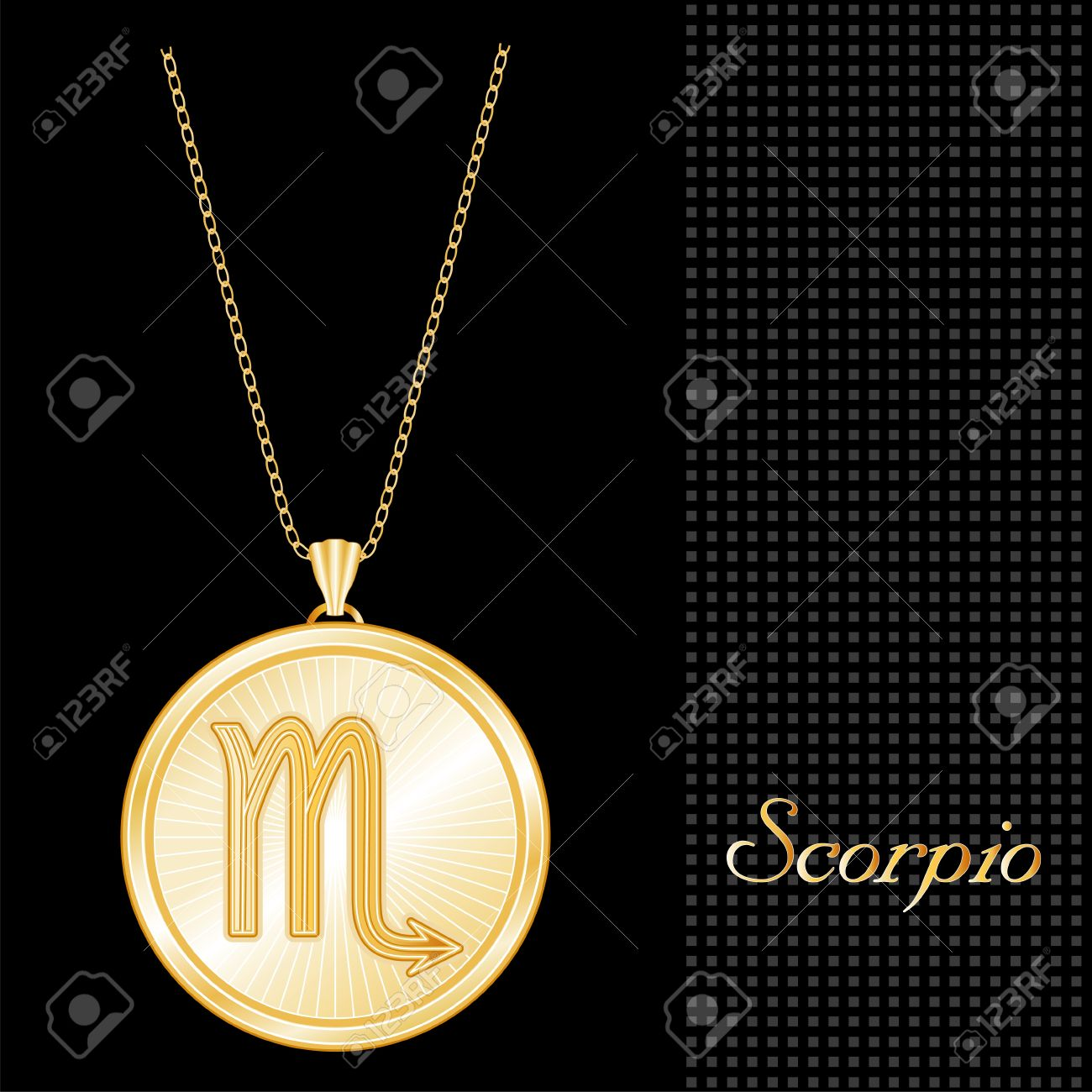 Scorpio pendant gold necklace and chain engraved astrology water scorpio pendant gold necklace and chain engraved astrology water sign symbol star burst design mozeypictures Gallery