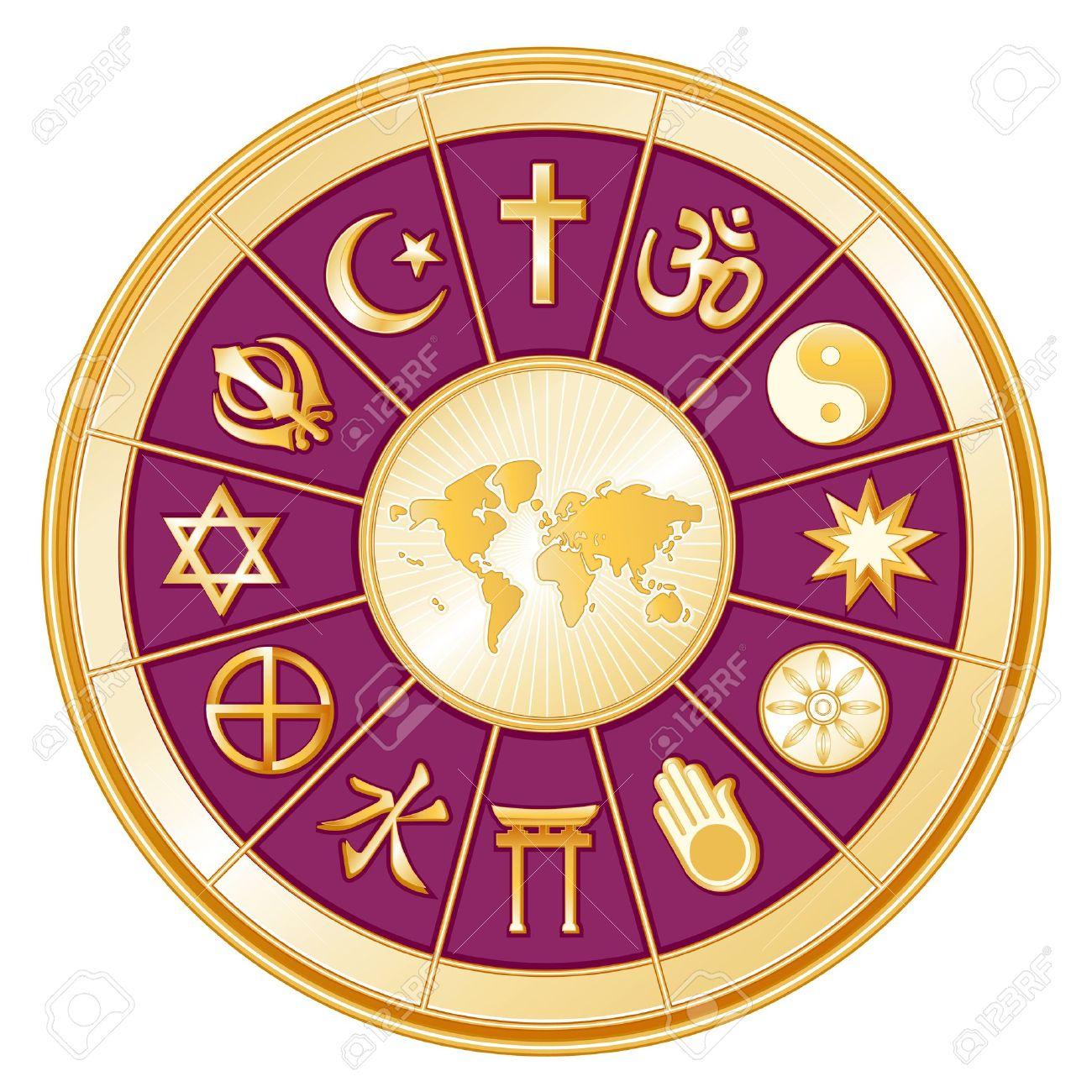 World Religions surrounding earth map  Islam, Christianity, Hinduism, Taoism, Baha i, Buddhism, Jain, Shinto, Confucianism, Native Spirituality, Judaism, Sikh Stock Vector - 14202169