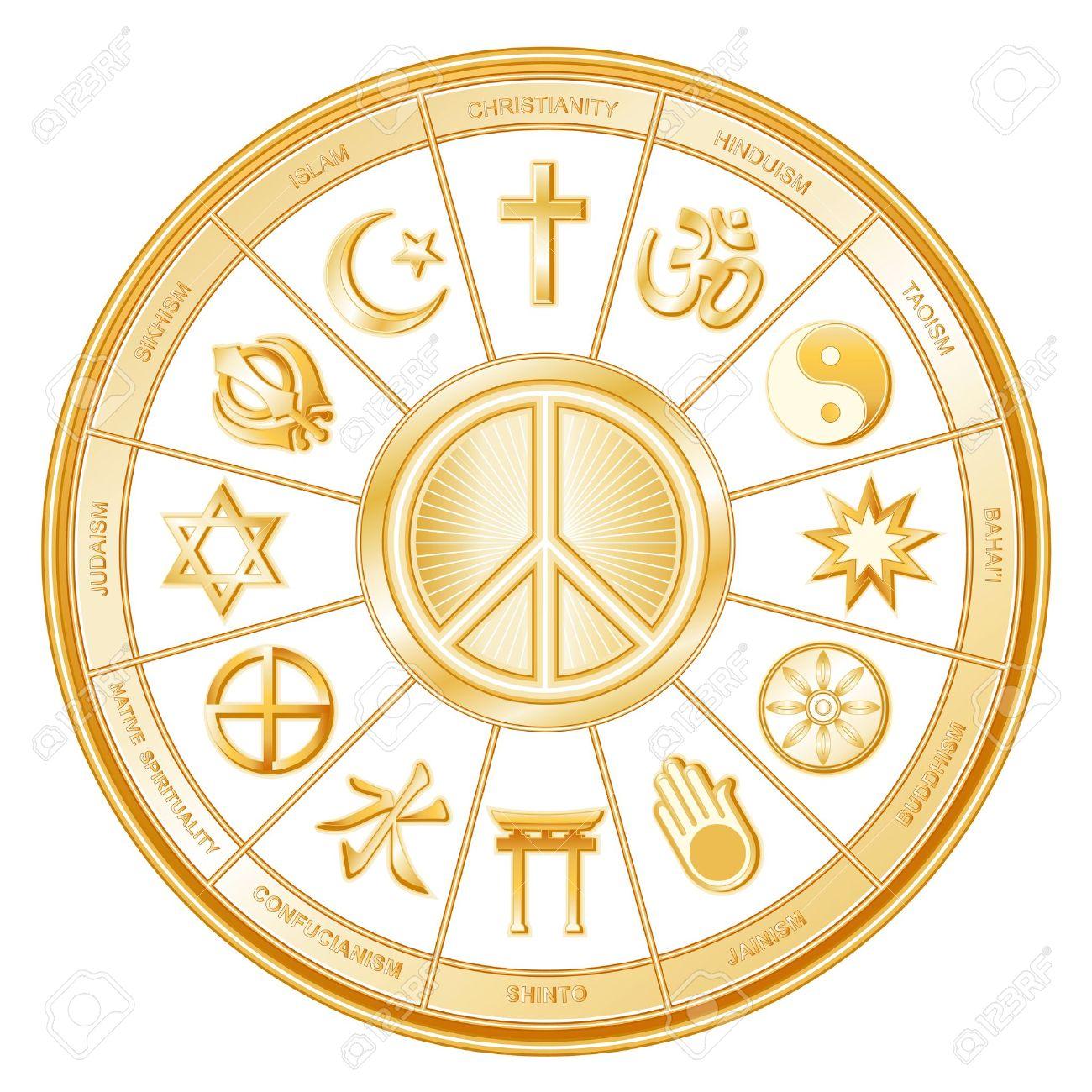 World Religions International Peace Symbol Islam Christianity