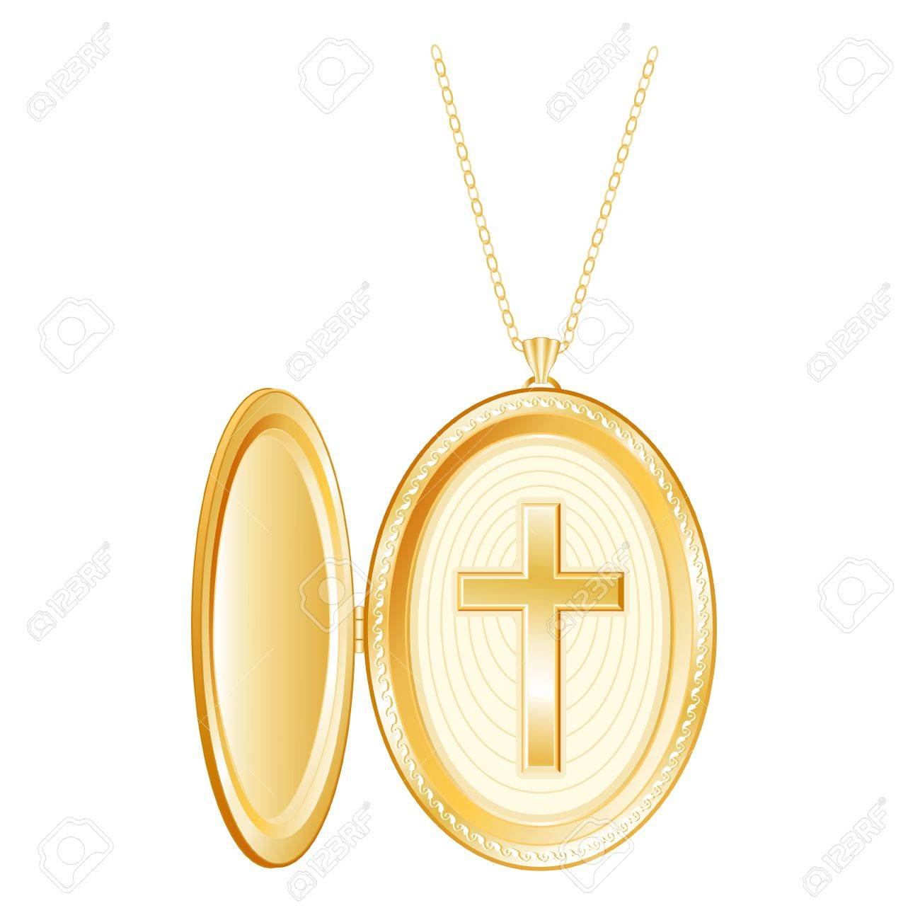 Christian Cross Engraved Vintage Gold Locket, necklace chain, isolated on white Stock Vector - 14250968