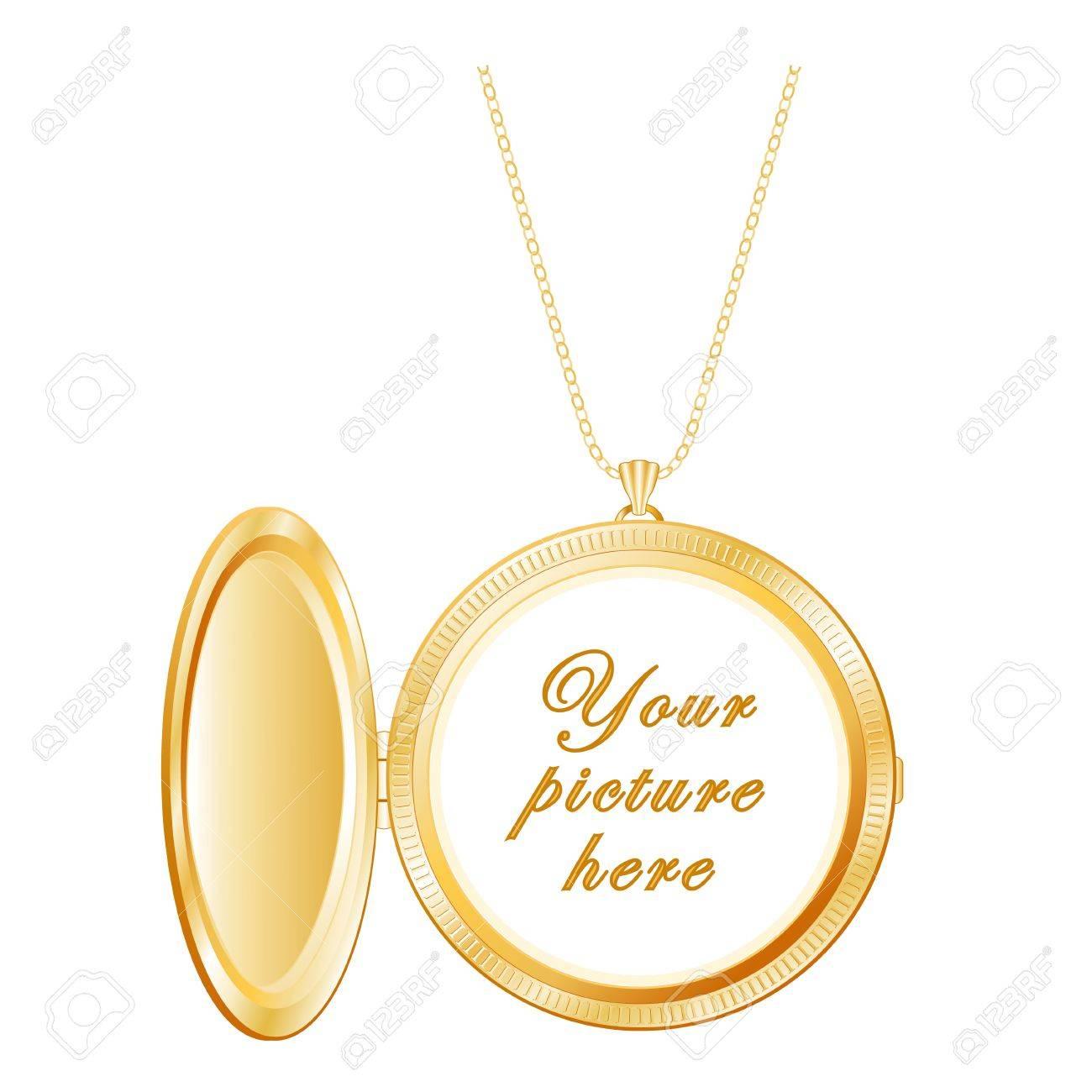 fabrieksprijs goedkoop te koop exclusieve deals Vintage Gold Keepsake medaillon, ketting, geïsoleerd op wit Kopieer de  ruimte voor foto of inscriptie