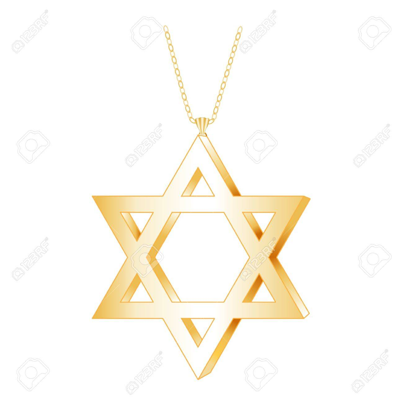 Gold star of david pendant with gold chain necklace isolated gold star of david pendant with gold chain necklace isolated on white stock vector aloadofball Images