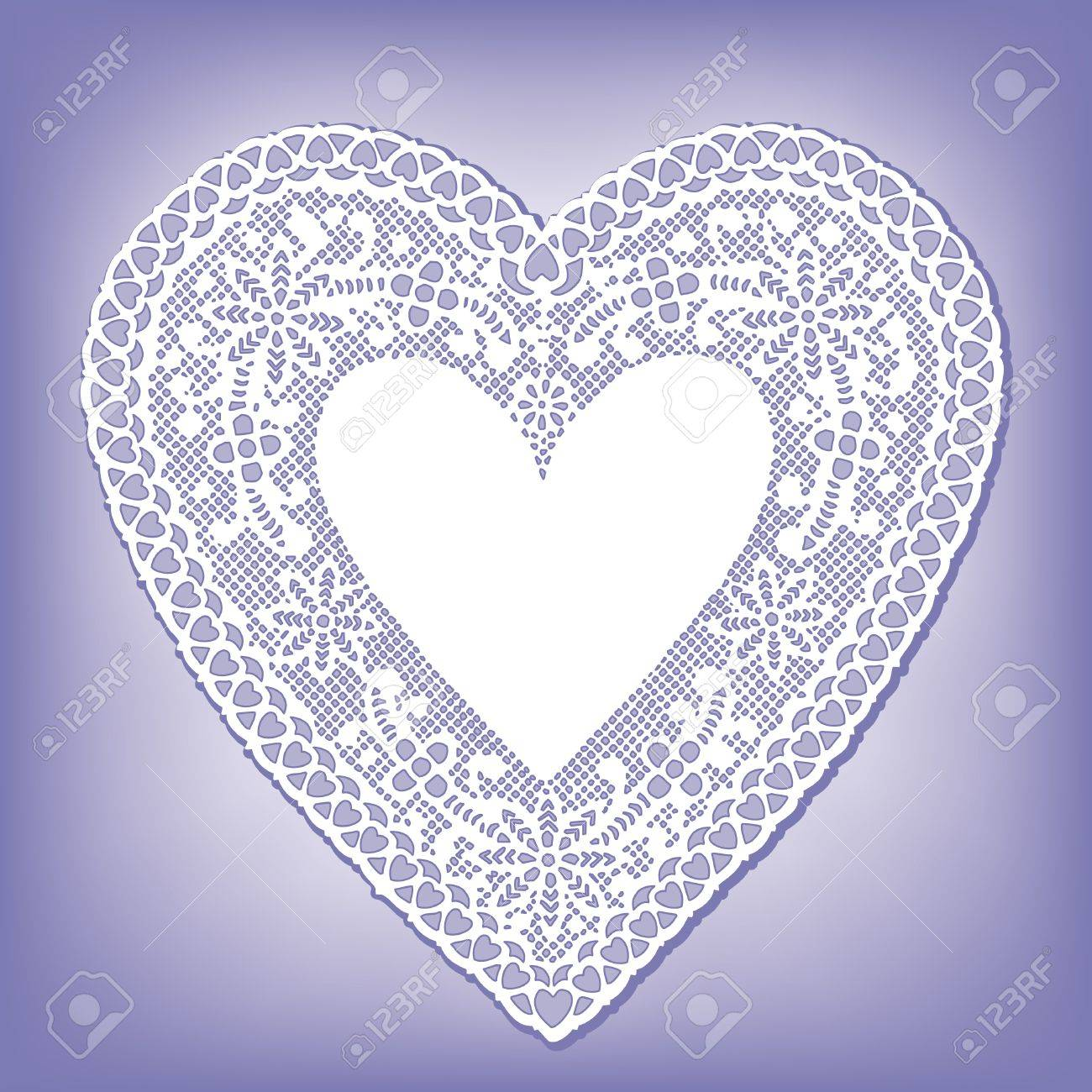 Vintage Lace Heart Doily, pastel blue background Stock Vector - 14312626