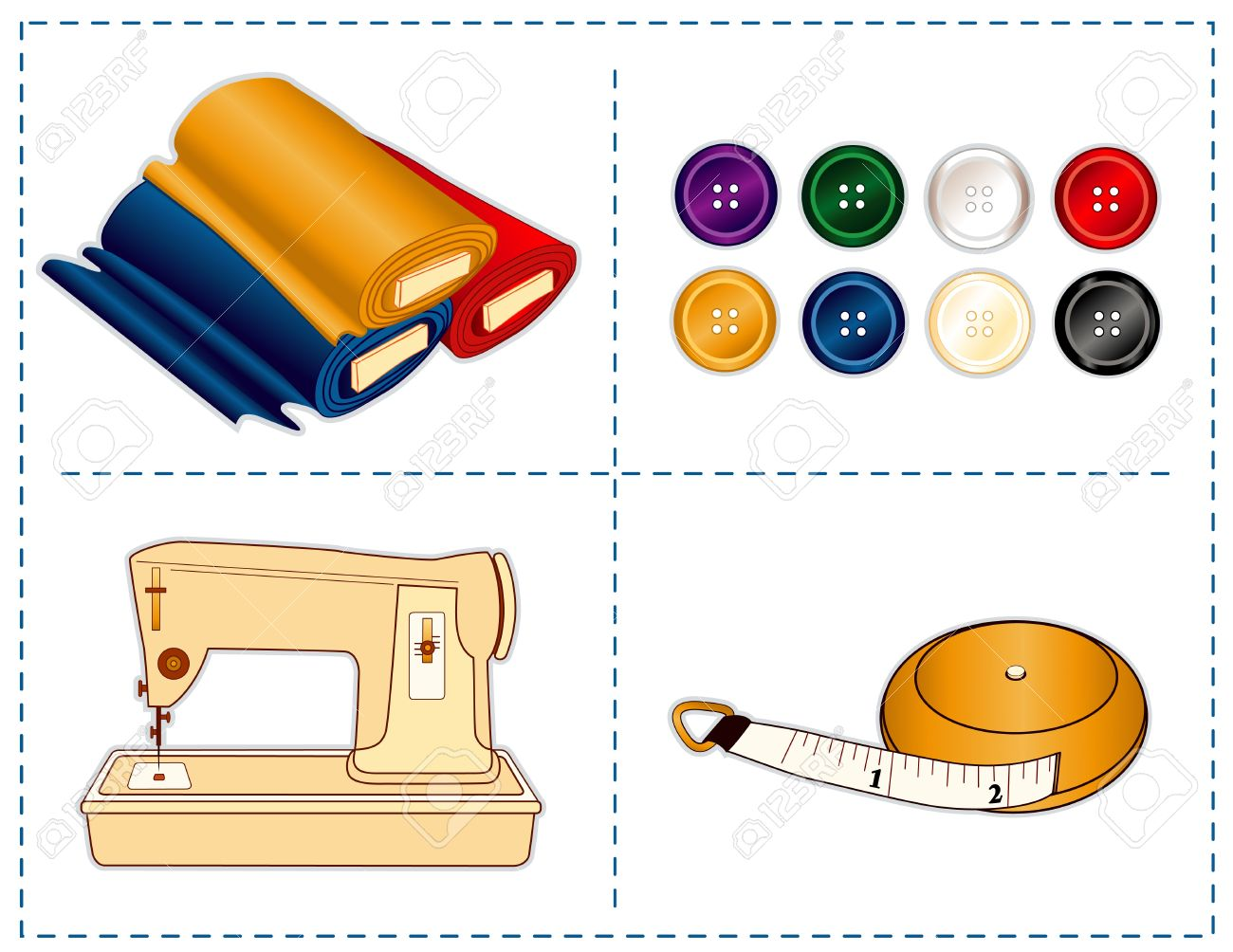 Sewing machine, tape measure, bolts of fabric, buttons in jewel colors isolated on white Stock Vector - 14407798