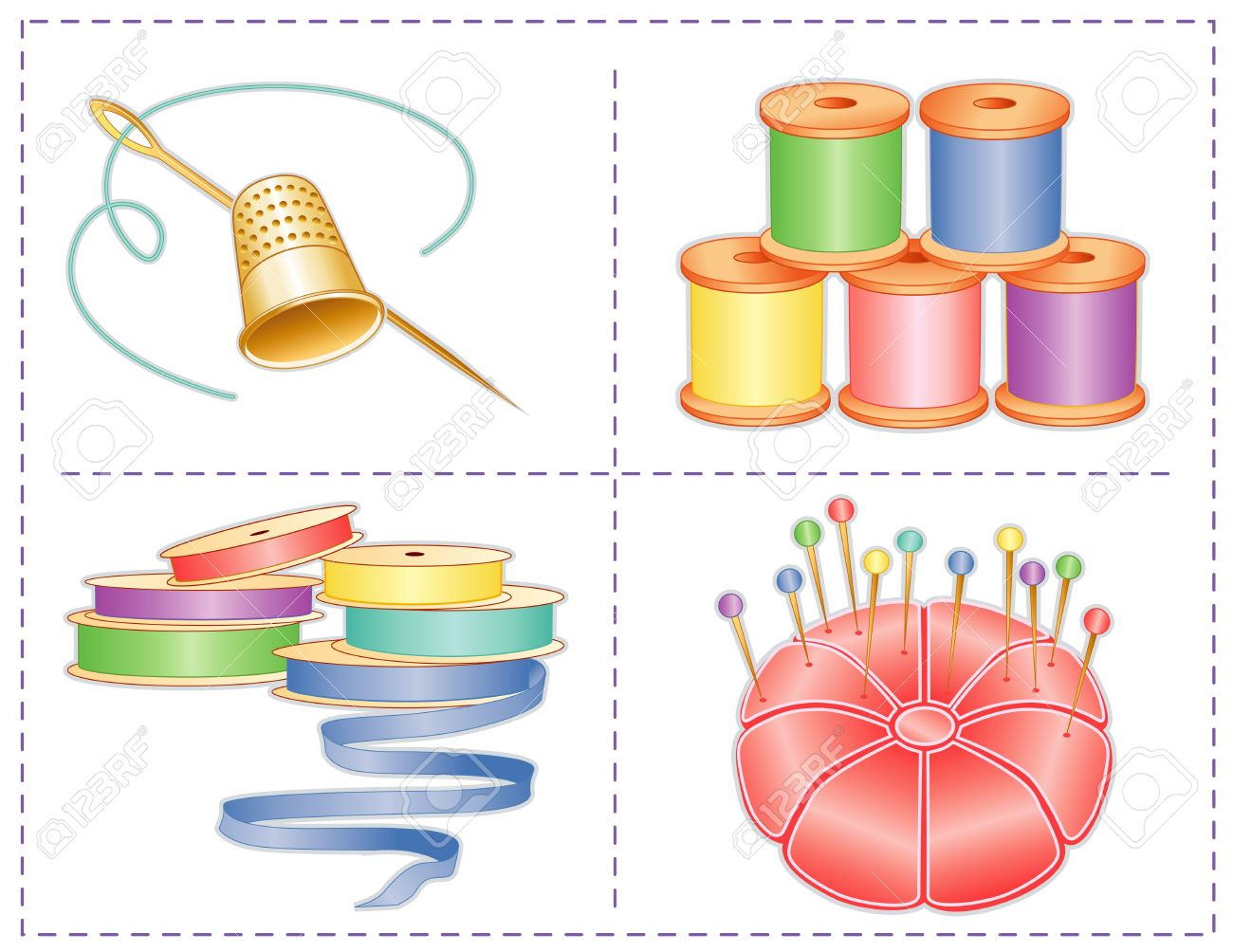 Sewing accessories, pastels, gold thimble, needle, satin pin cushion, straight pins, satin ribbons, spools of thread, isolated on white, for fashion sewing, tailoring, quilting, crafts, needlework, do it yourself projects - 14407807