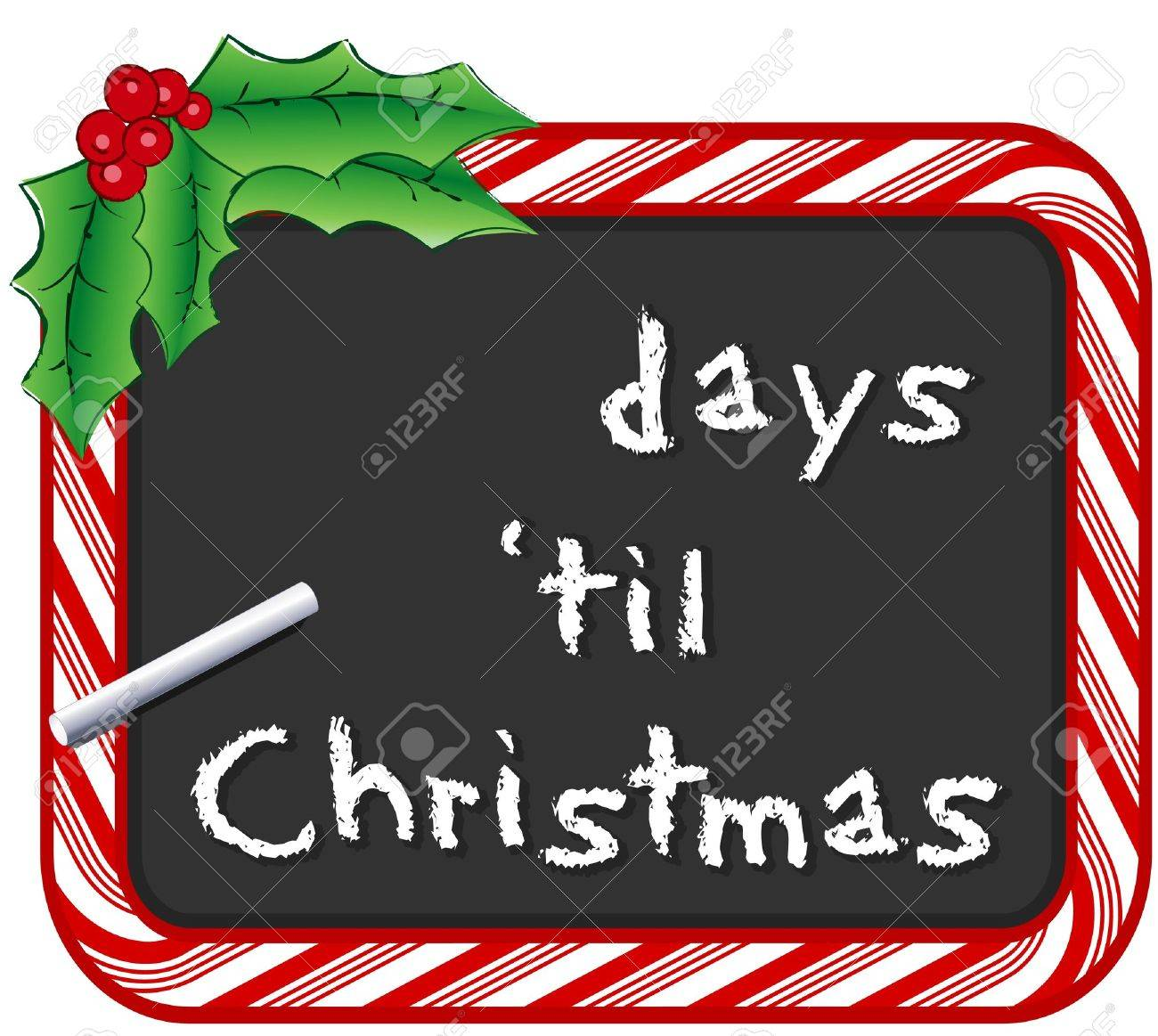Fill In The Days Until Christmas On Chalk Board With Candy Cane ...