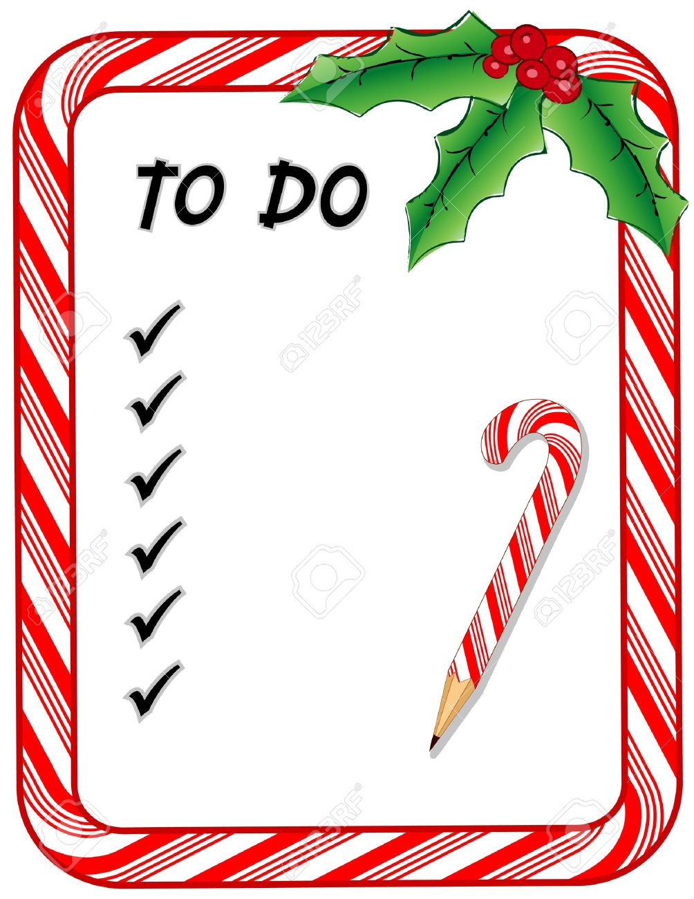 Christmas To Do List With Candy Cane Frame, Check Marks, Pencil ...