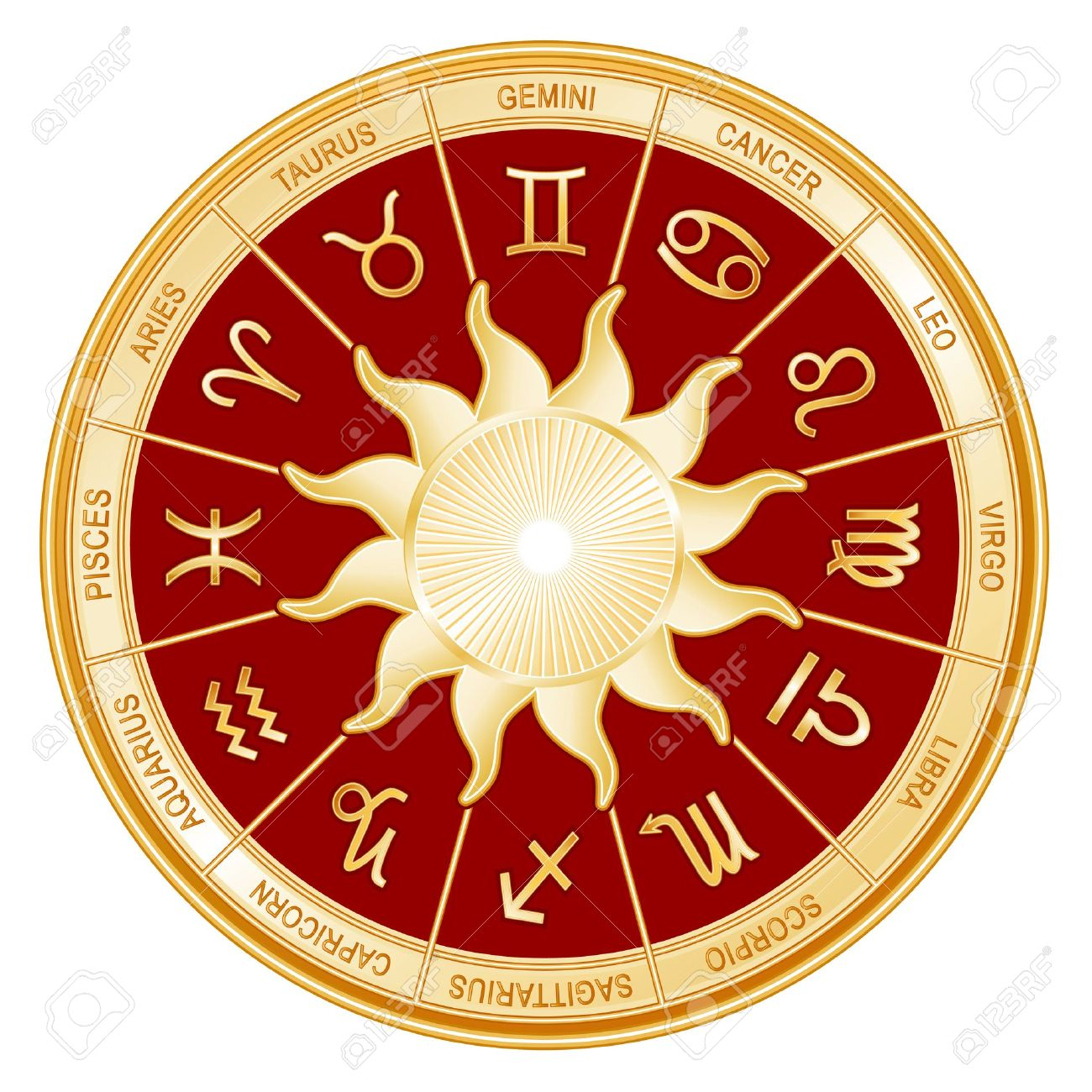 Horoscope Sun Sign Mandala with twelve gold symbols of the Zodiac  Gemini, Cancer, Leo, Libra, Virgo, Scorpio, Sagittarius, Capricorn, Aquarius, Pisces, Aries, Taurus Stock Vector - 14783443