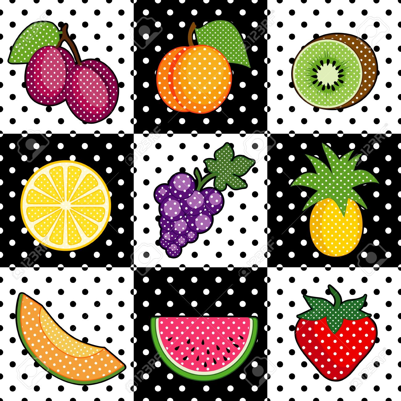 Fruit Tiles Plums, Peach, Kiwi, Lemon, Grapes, Pineapple, Cantaloupe,
