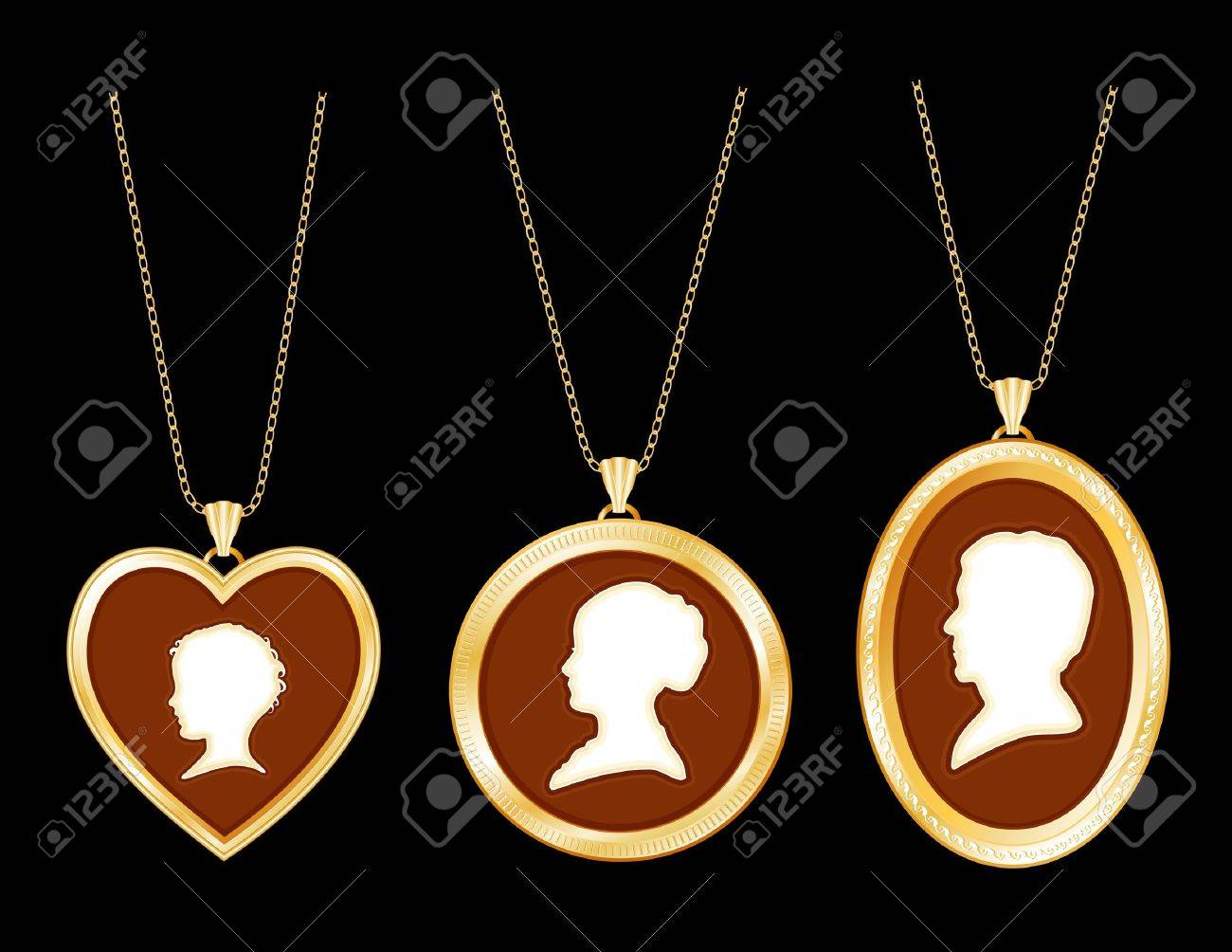 chains three ge young jewelry silhouettes ivory gold family child engraved antique locket photo cameo lady