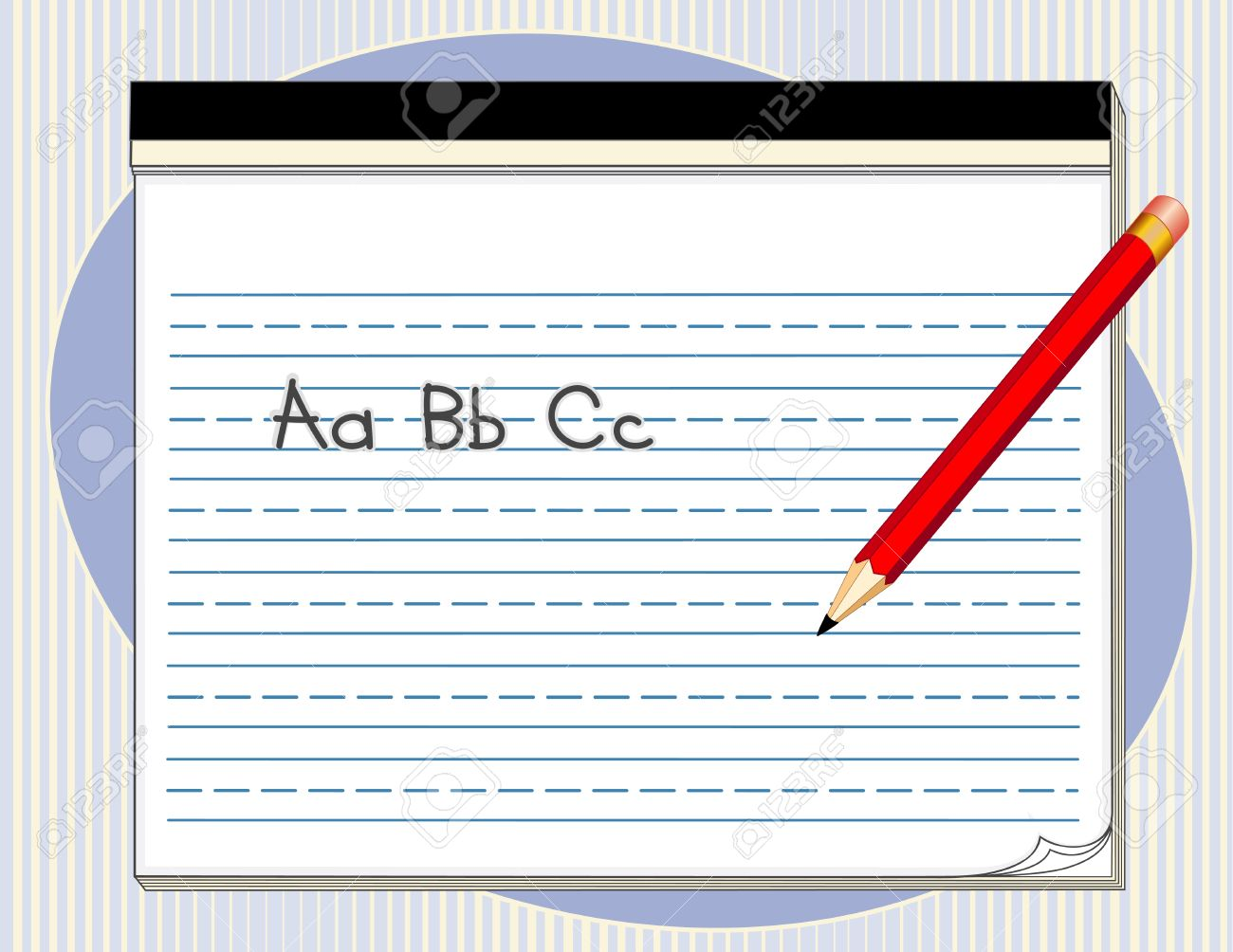 writing tablet with handwriting lines, big red pencil, abc royalty