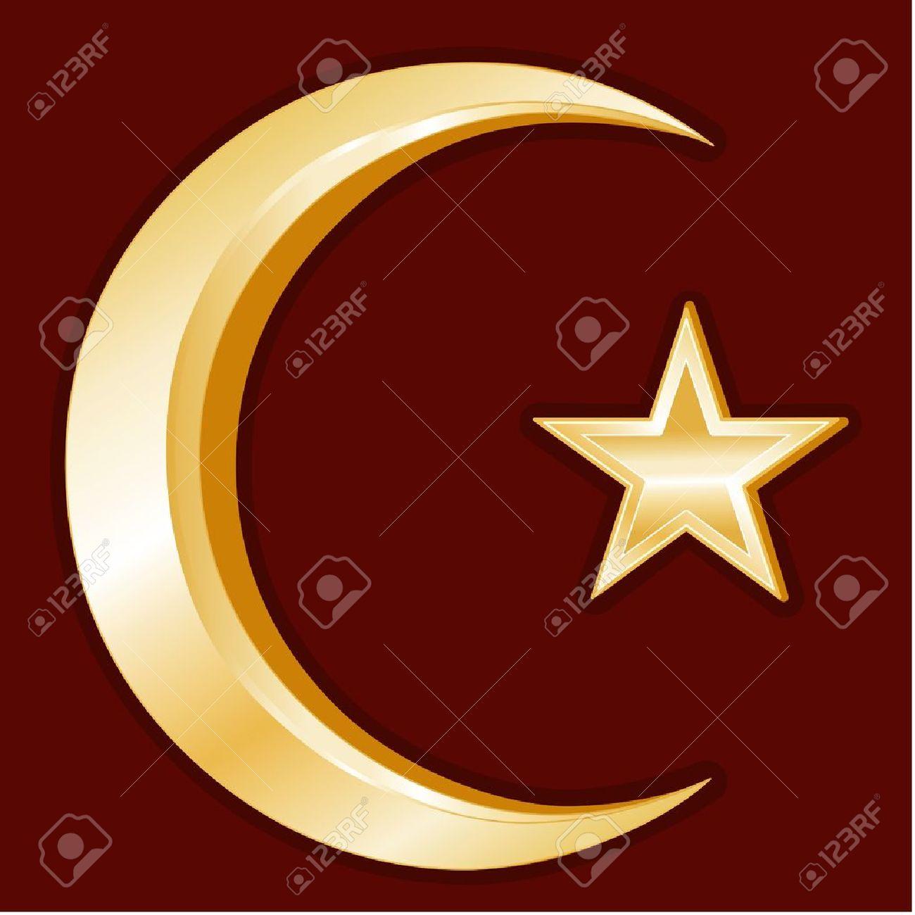 Islam Symbol, Gold Crescent And Star Icon, Crimson Red Background ...