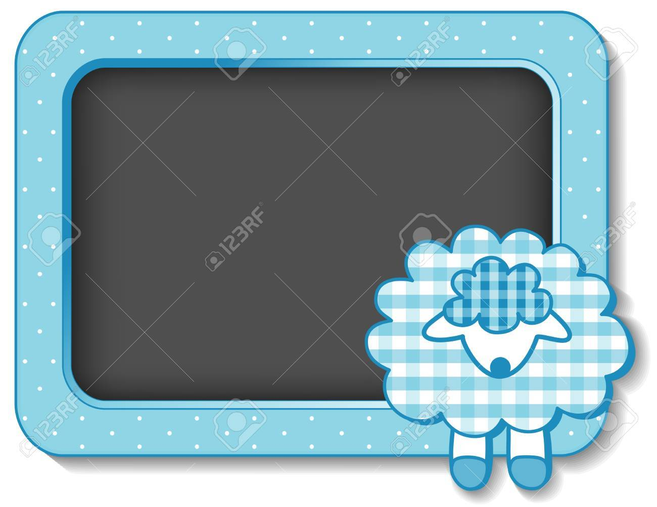 Baby Lamb nursery frame board in pastel aqua gingham and polka dots with copy space for scrapbooks, albums, baby books Stock Vector - 15587061
