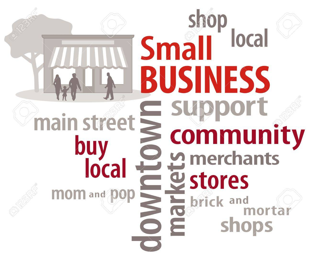 Small Business Word Cloud  Shop local community stores Stock Vector - 15822446