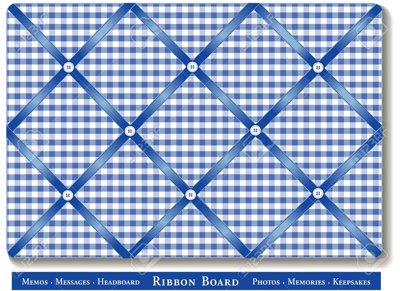 Ribbon Bulletin Board Blue Satin Ribbons On Gingham Check French