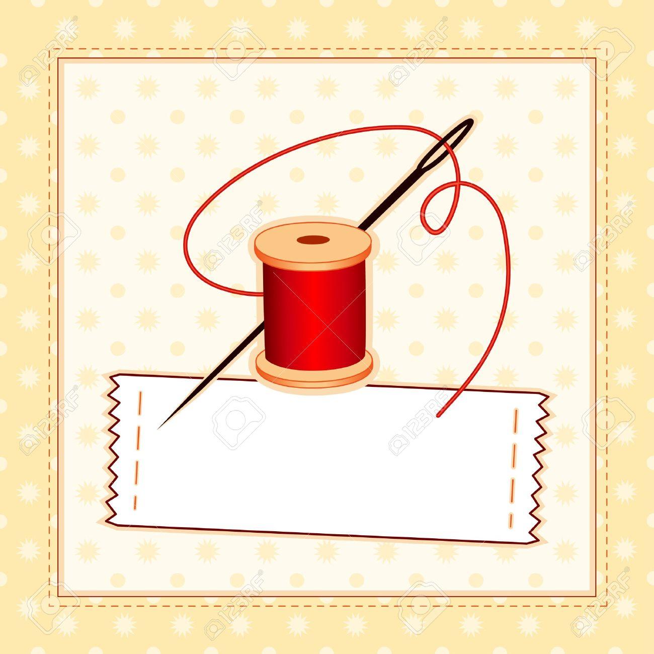 Nähen Etikett, Nadel Und Faden Genäht Muster Rahmen Mit Kopie Raum ...