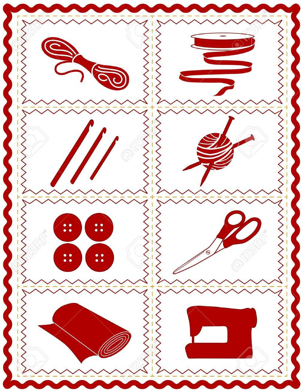 Sewing Knit Crochet Craft Icons Tools And Supplies For Tailoring Dressmaking