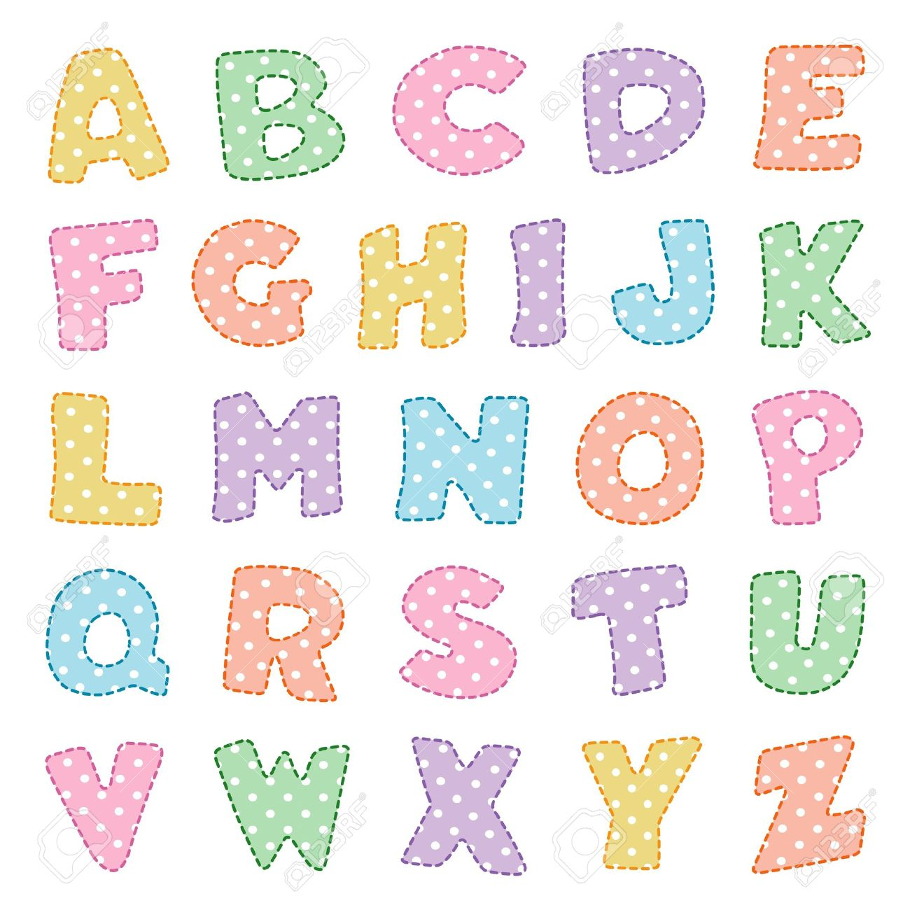 alphabet original design in pastels with white polka dots royalty