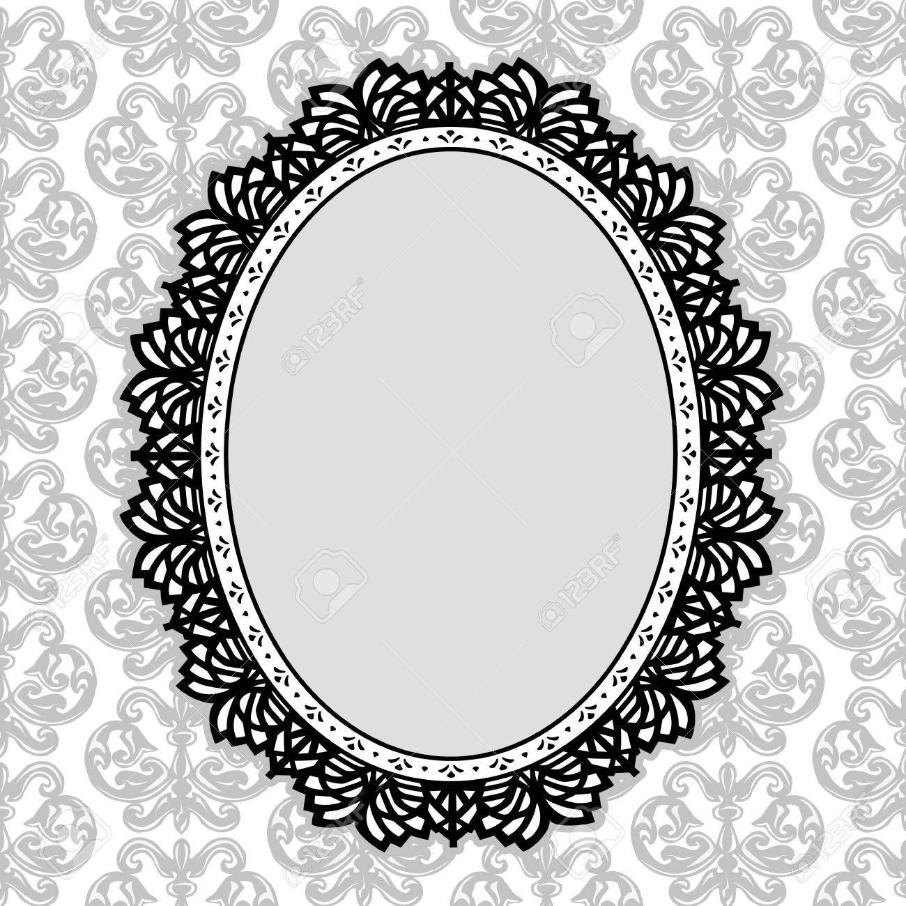 Vintage Lace Picture Frame Oval Doily With Fleur De Lis Background