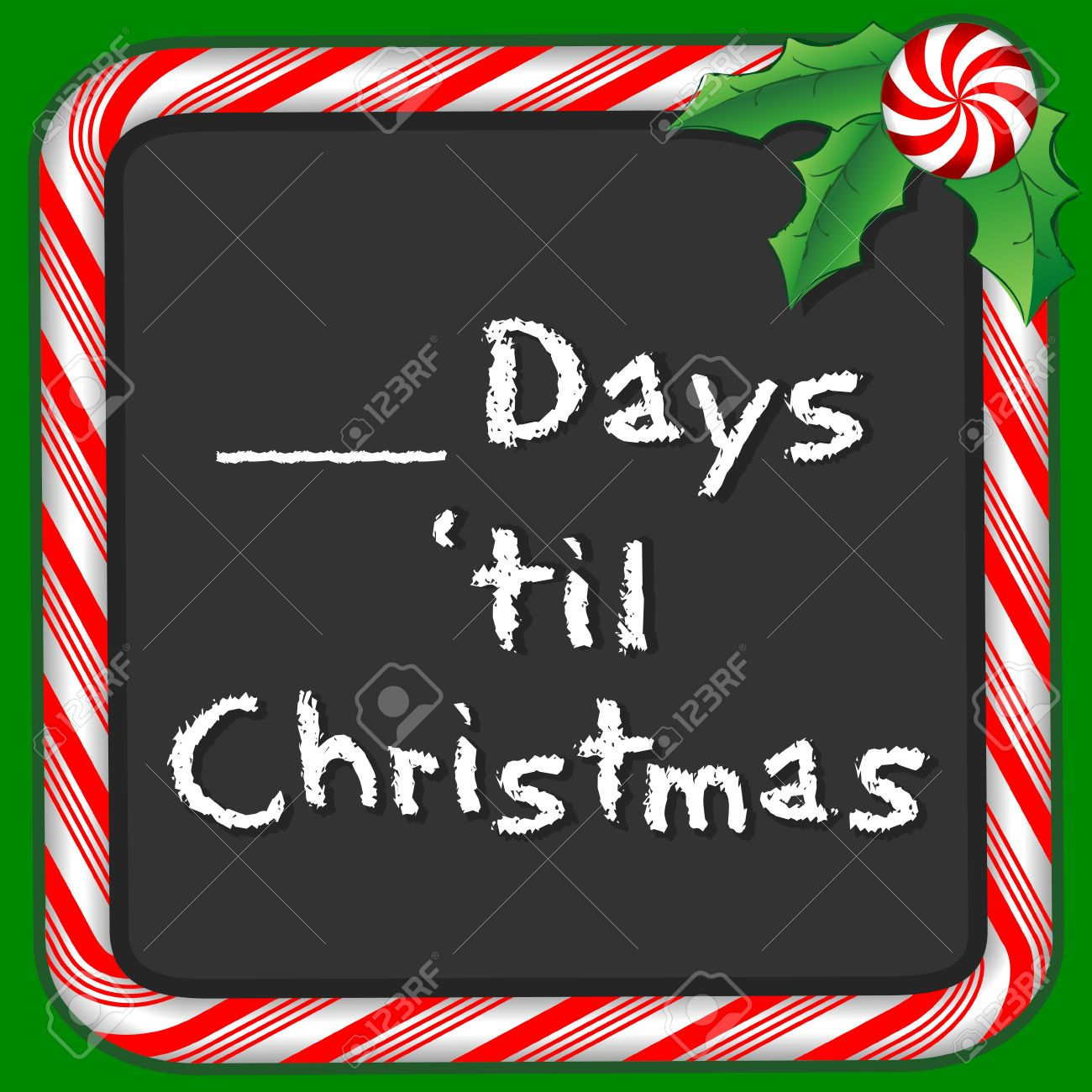 Days Till Christmas Chalkboard.Count The Days Until Christmas Holiday Chalkboard With Candy