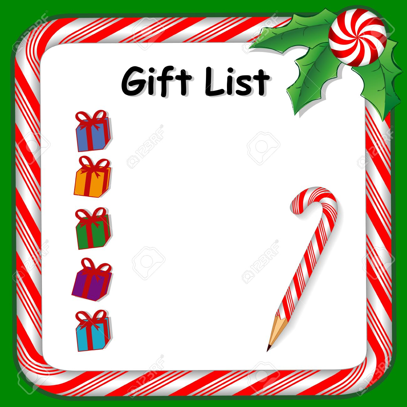 Christmas Holiday Gift List On Whiteboard With Candy Cane Frame In ...