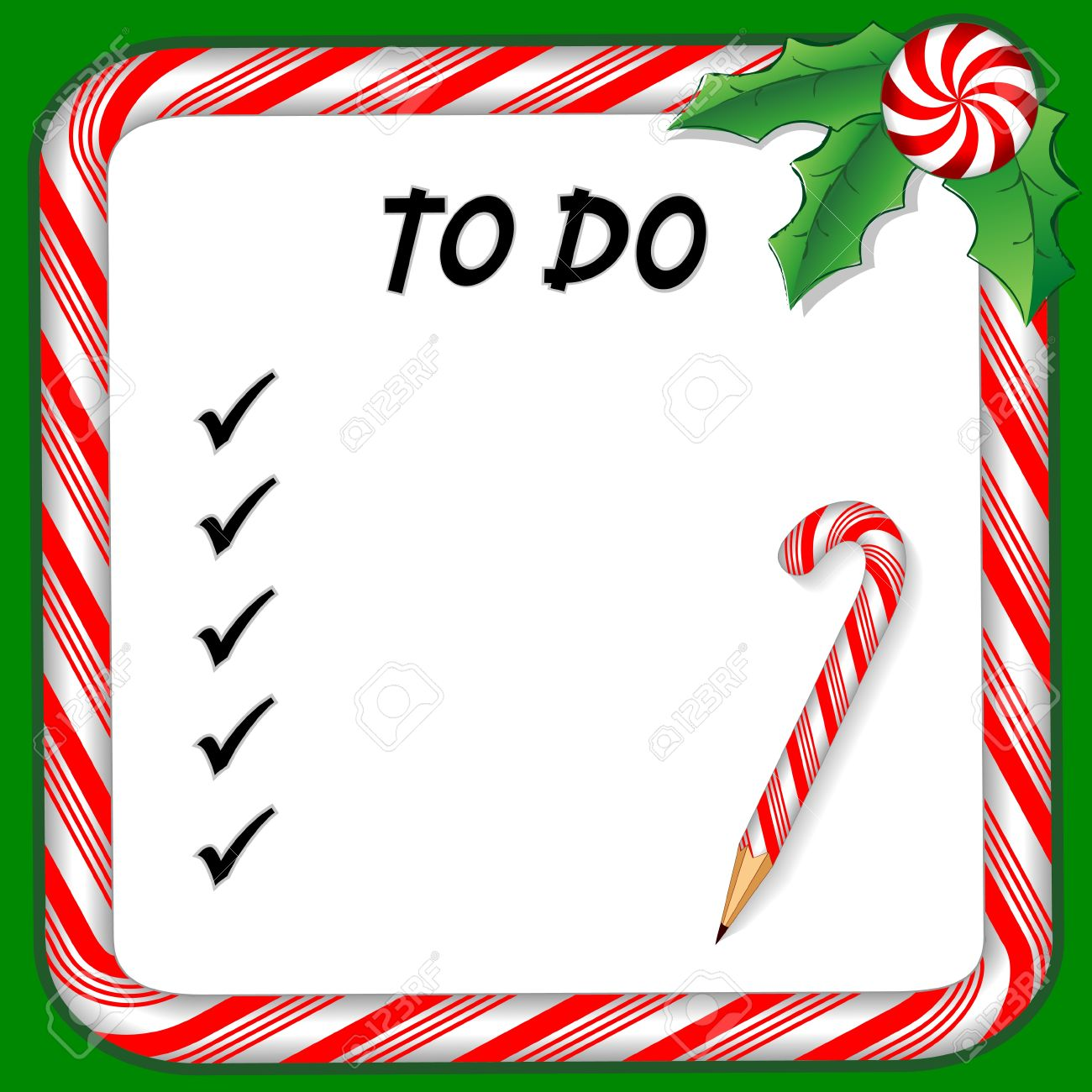 Christmas Holiday To Do List On Whiteboard With Candy Cane Frame ...
