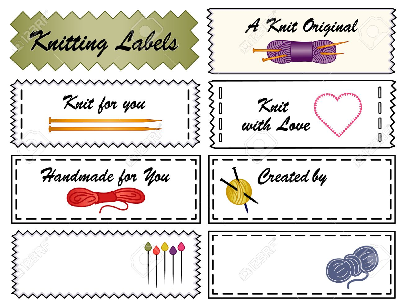 Knitting sewing labels with yarn wool skeins wood needles knitting sewing labels with yarn wool skeins wood needles marker pins solutioingenieria Images