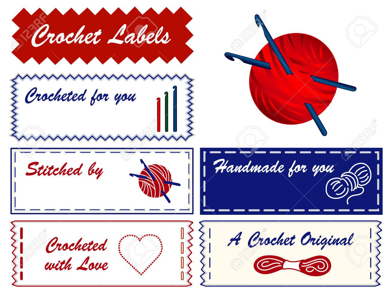 Crochet Sewing Labels With Copy Space To Customize For Crocheting