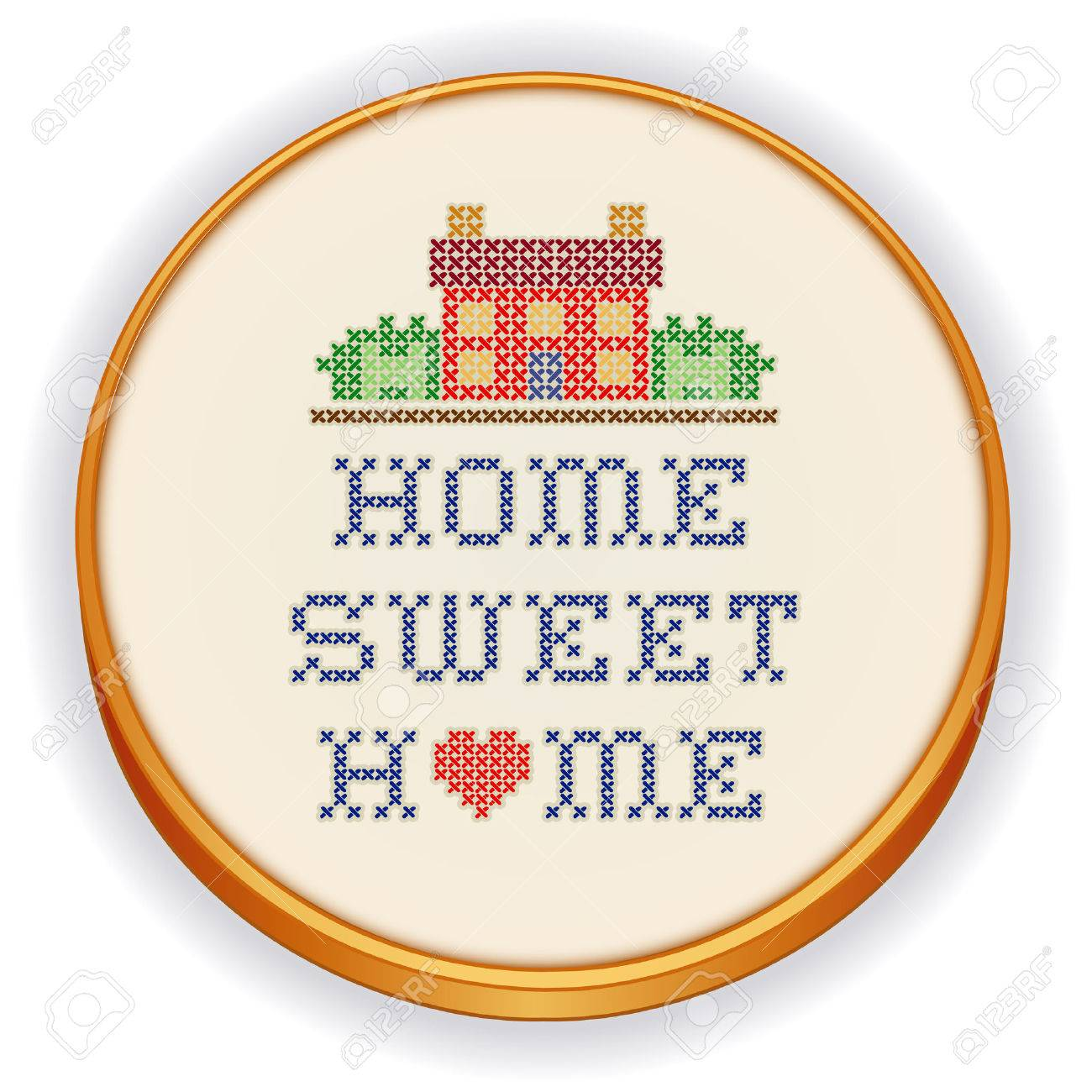 Embroidery Home Sweet Home Big Red Heart Decorative Cross
