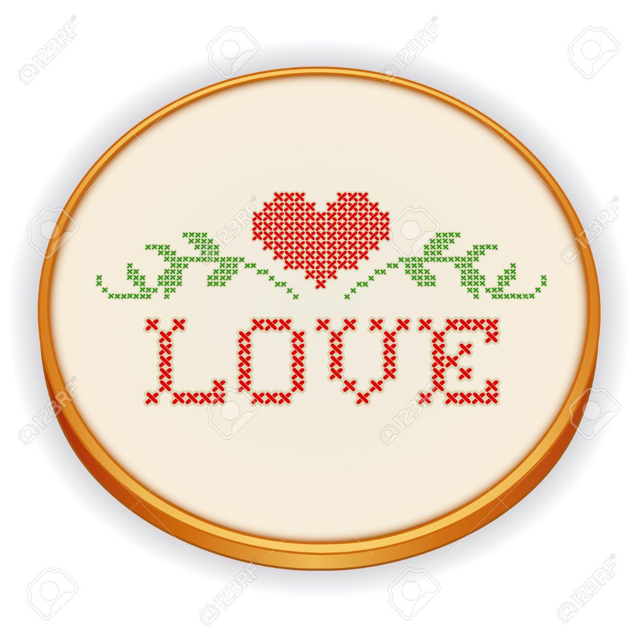 Bordado, Amor Con Un Gran Corazón Rojo, Diseño De Punto De Cruz ...