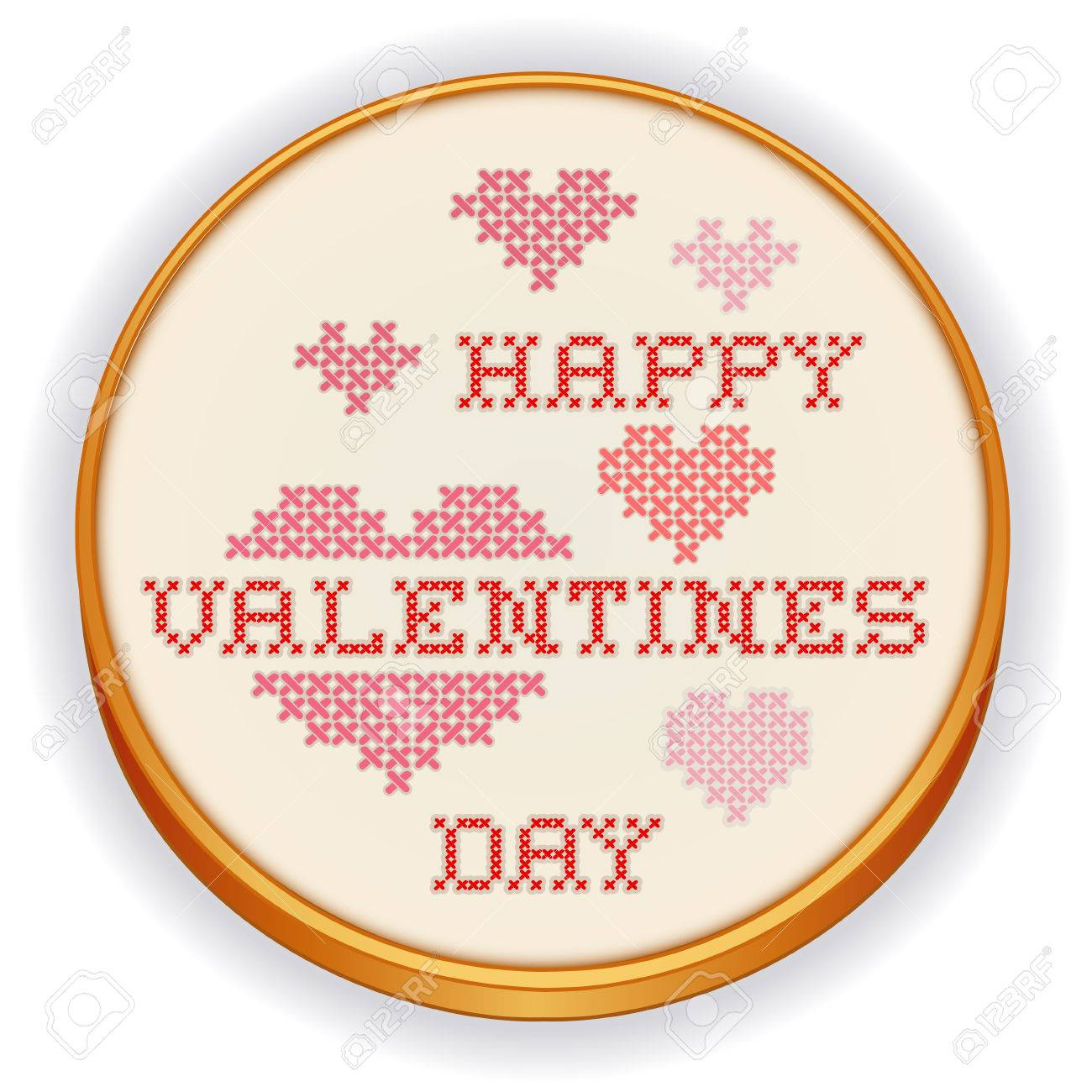 Happy Valentines Day Cross Stitch Embroidery On Retro Wood Hoop