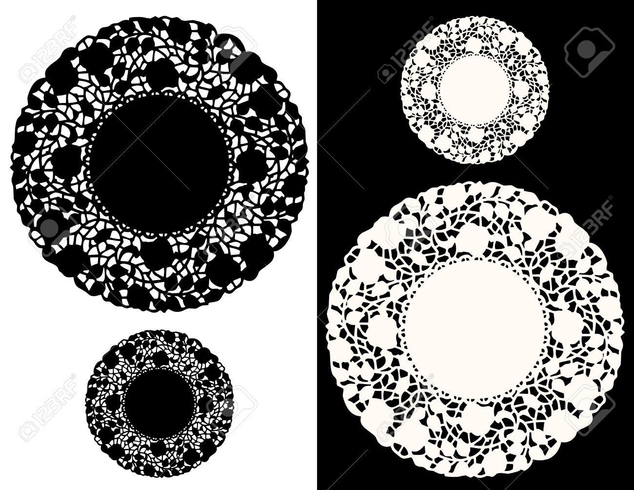 Jahrgang Spitzendeckchen Tischsets, Blumenmuster, Schwarz, Weiß ...