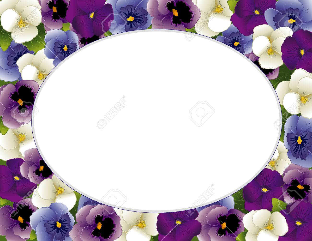 Pansy-Blumen-Oval Bilderrahmen Frühling Bratschen In Lavendel, Lila ...