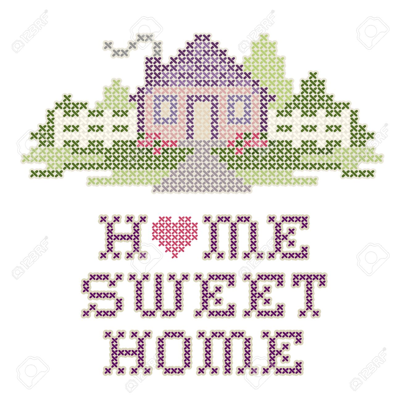 Vintage Embroidery, Home Sweet Home - 27417539