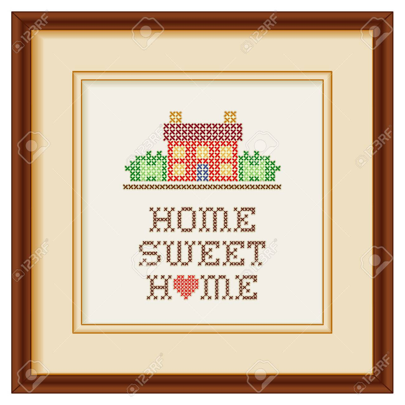 Embroidery Home Sweet Home With A Big Red Heart In Rustic Colors