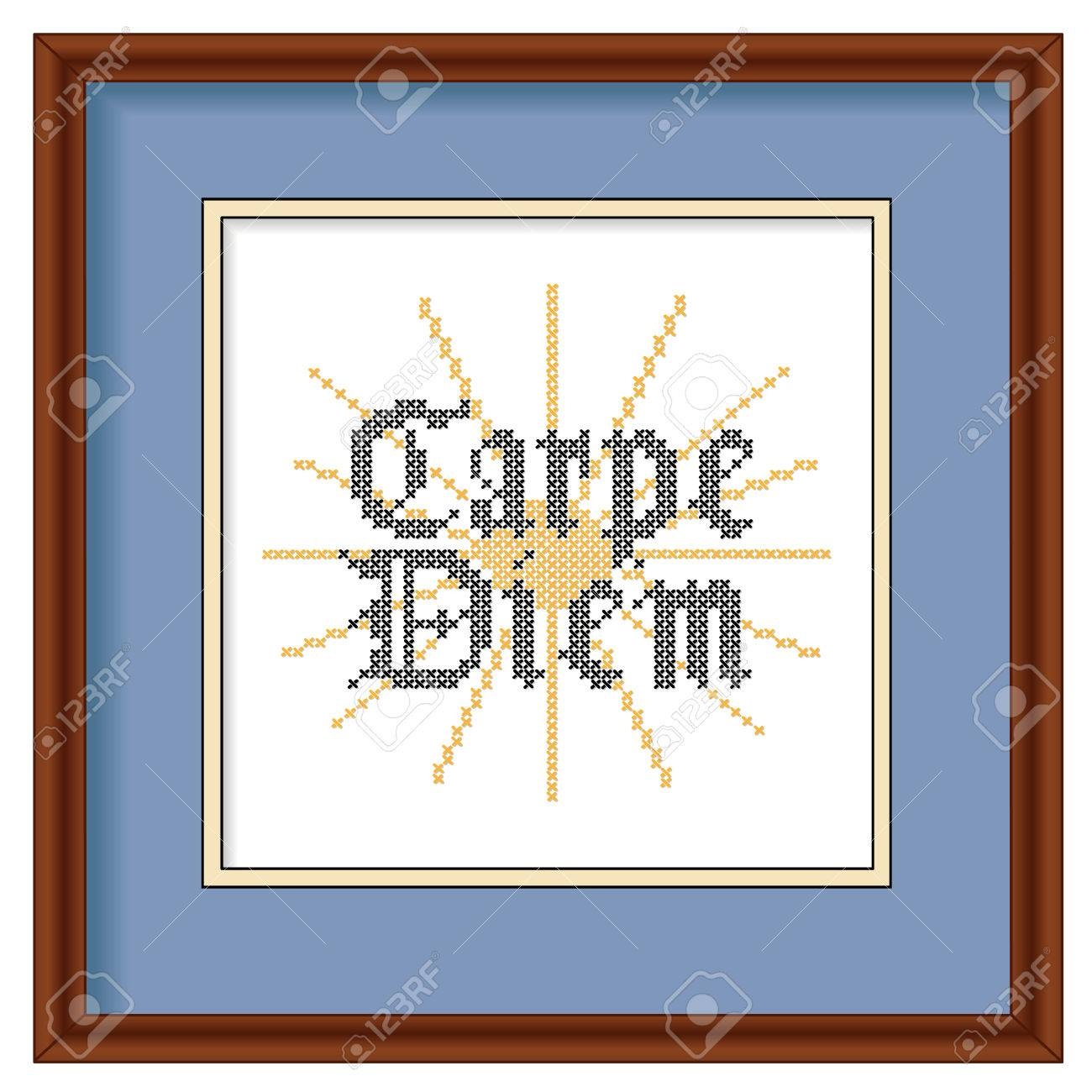 Carpe Diem, Gothic Script, Sunrise Background Cross Stitch ...