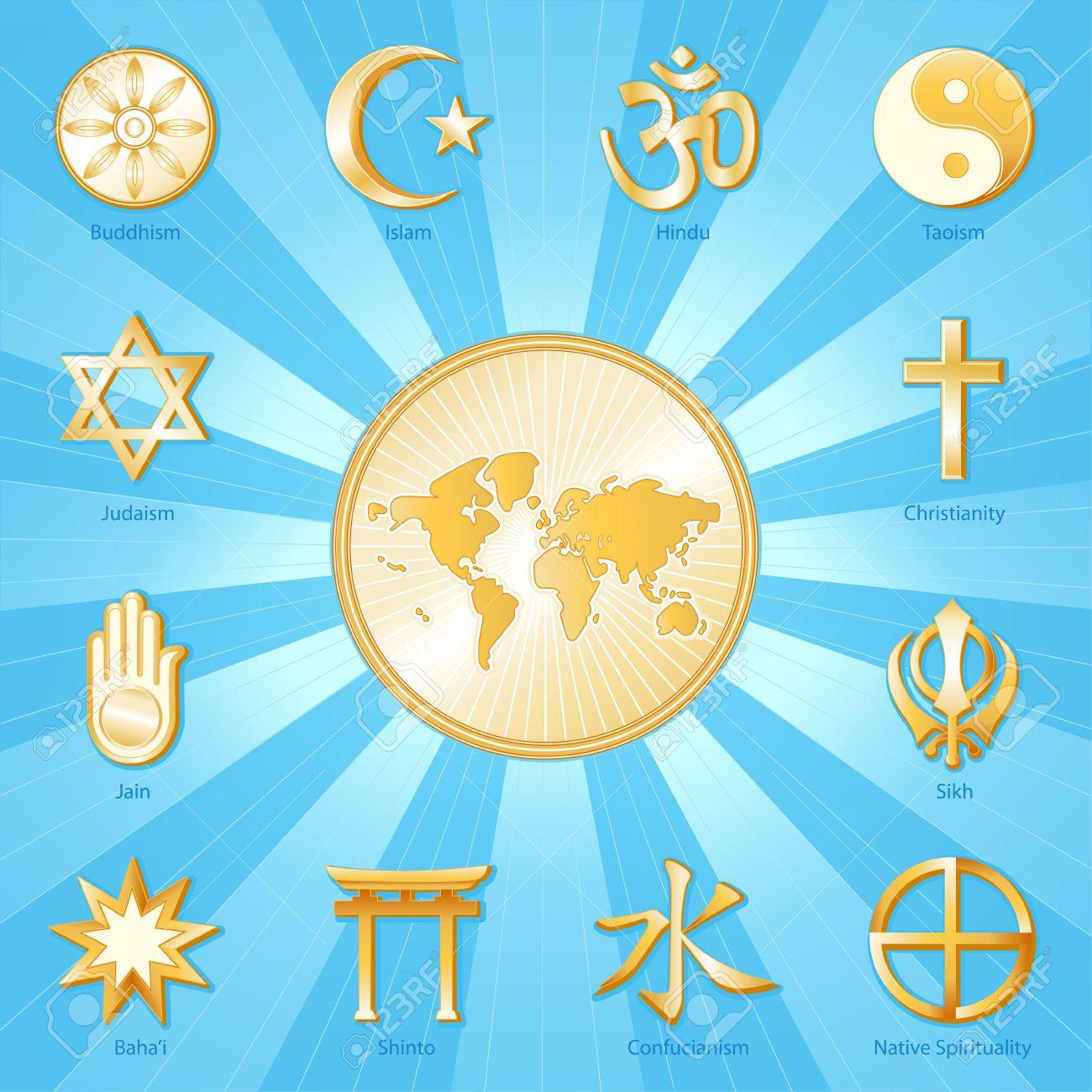 World of faith gold symbols of 12 international religions world of faith gold symbols of 12 international religions surround world map buddhism islam buycottarizona