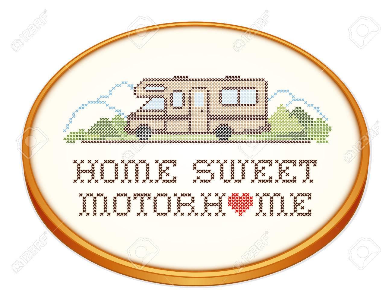 Home Sweet Home Motor, Bastidor De Bordado De Madera Retro Con ...