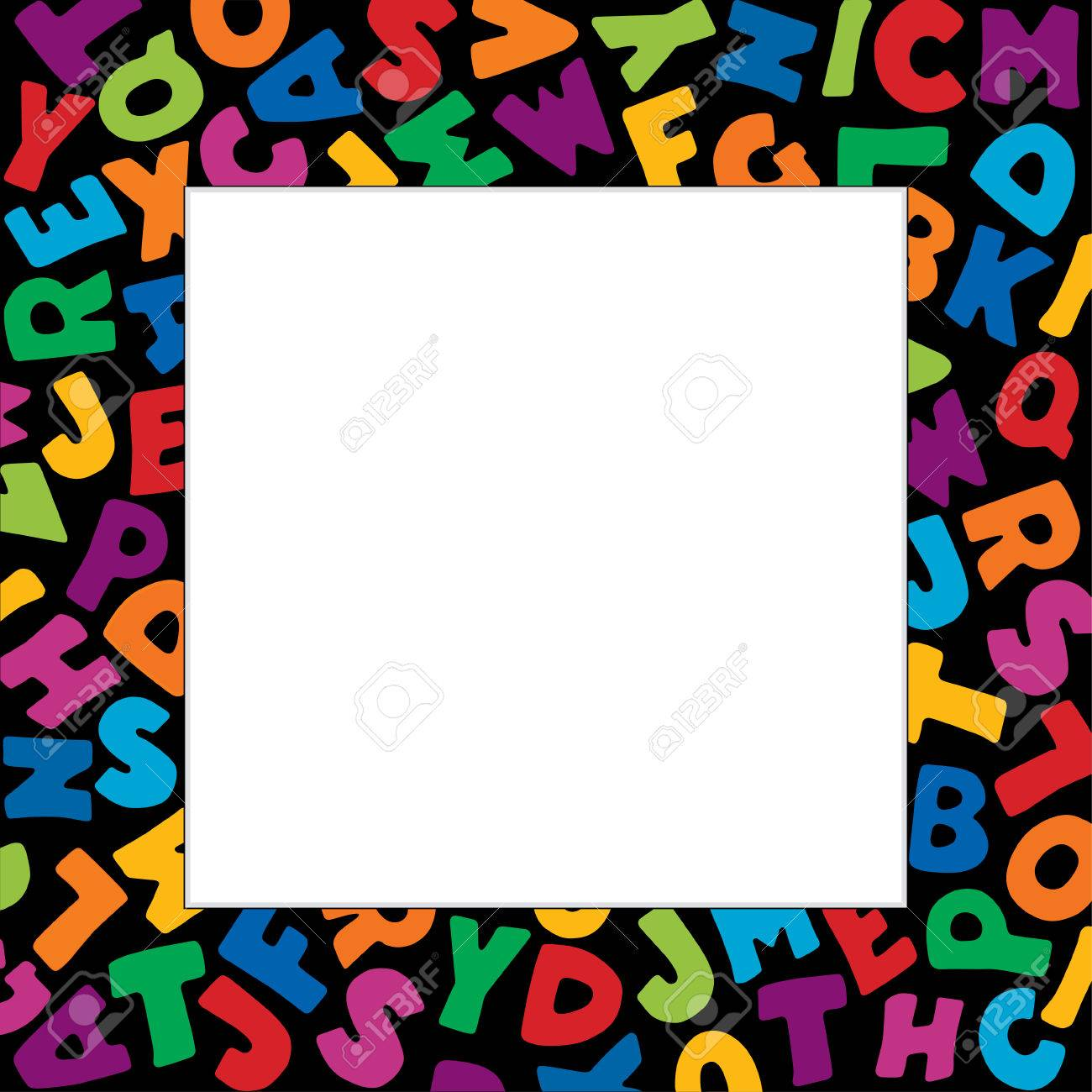 Alphabet frame square multicolor letter border on black background alphabet frame square multicolor letter border on black background with copy space for back to solutioingenieria Images