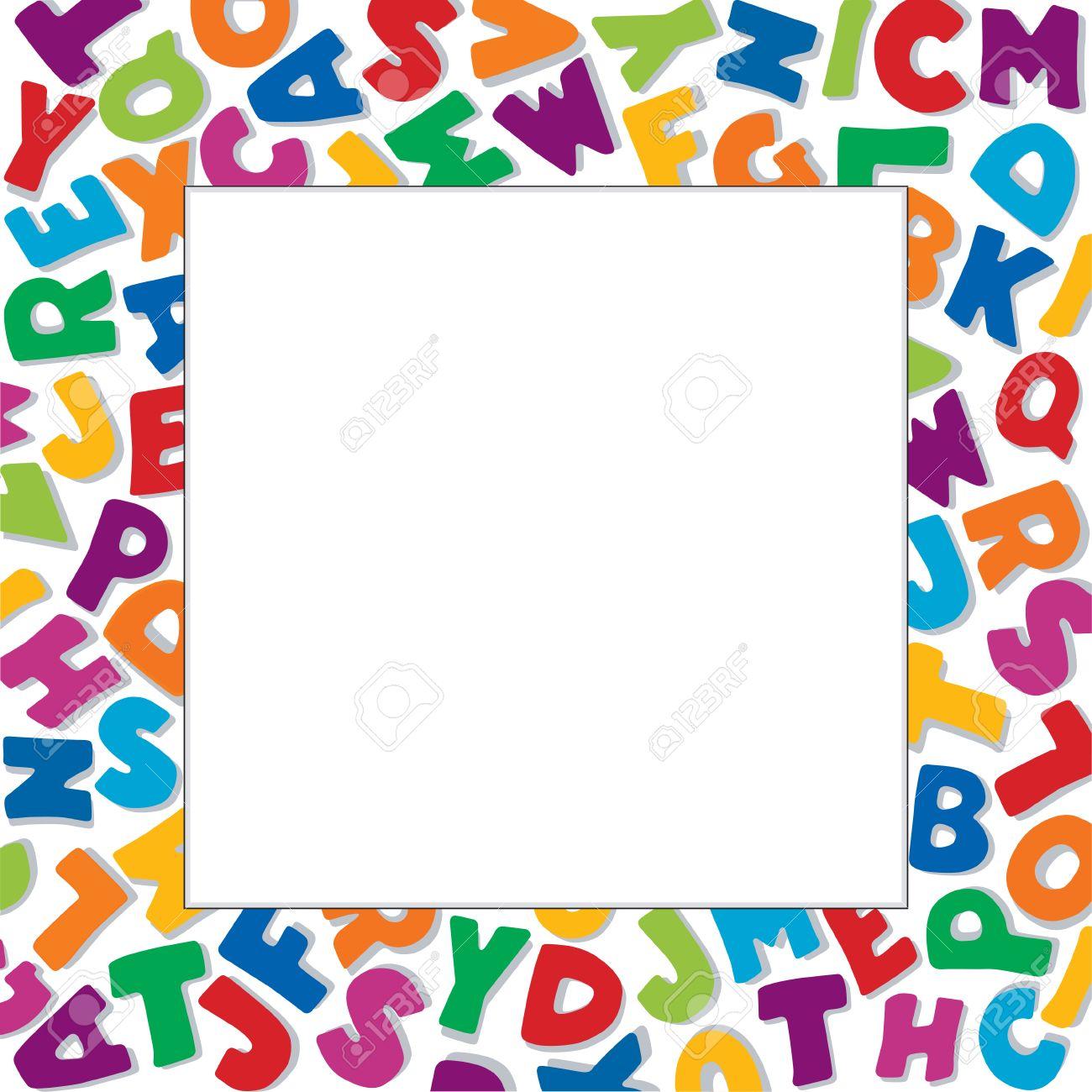 alphabet frame square multicolor letter border on white background