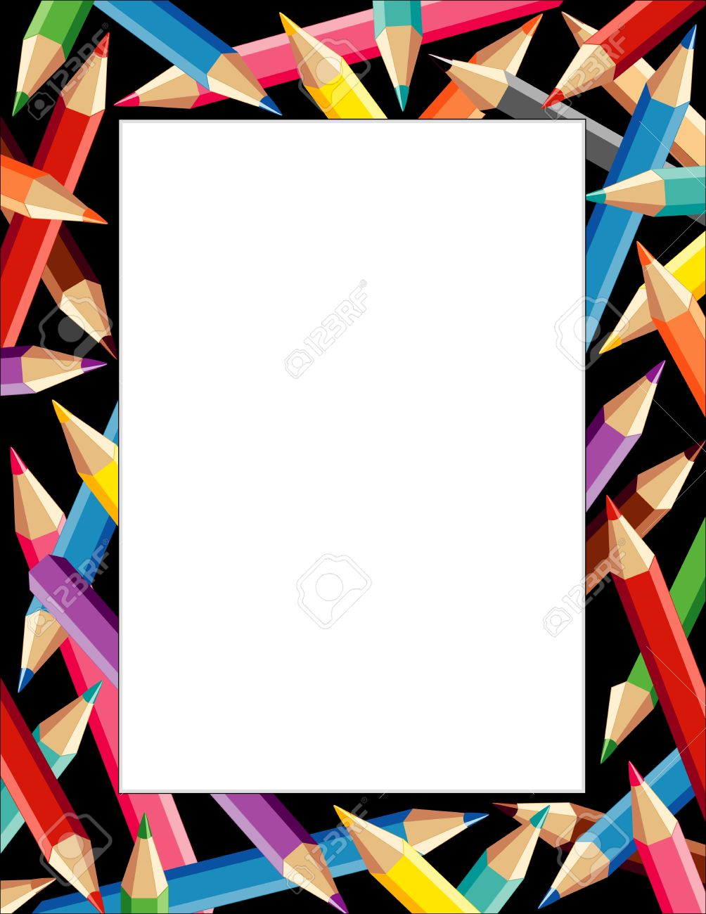Pencils Frame, Multicolor Border On Black Background With Copy ...