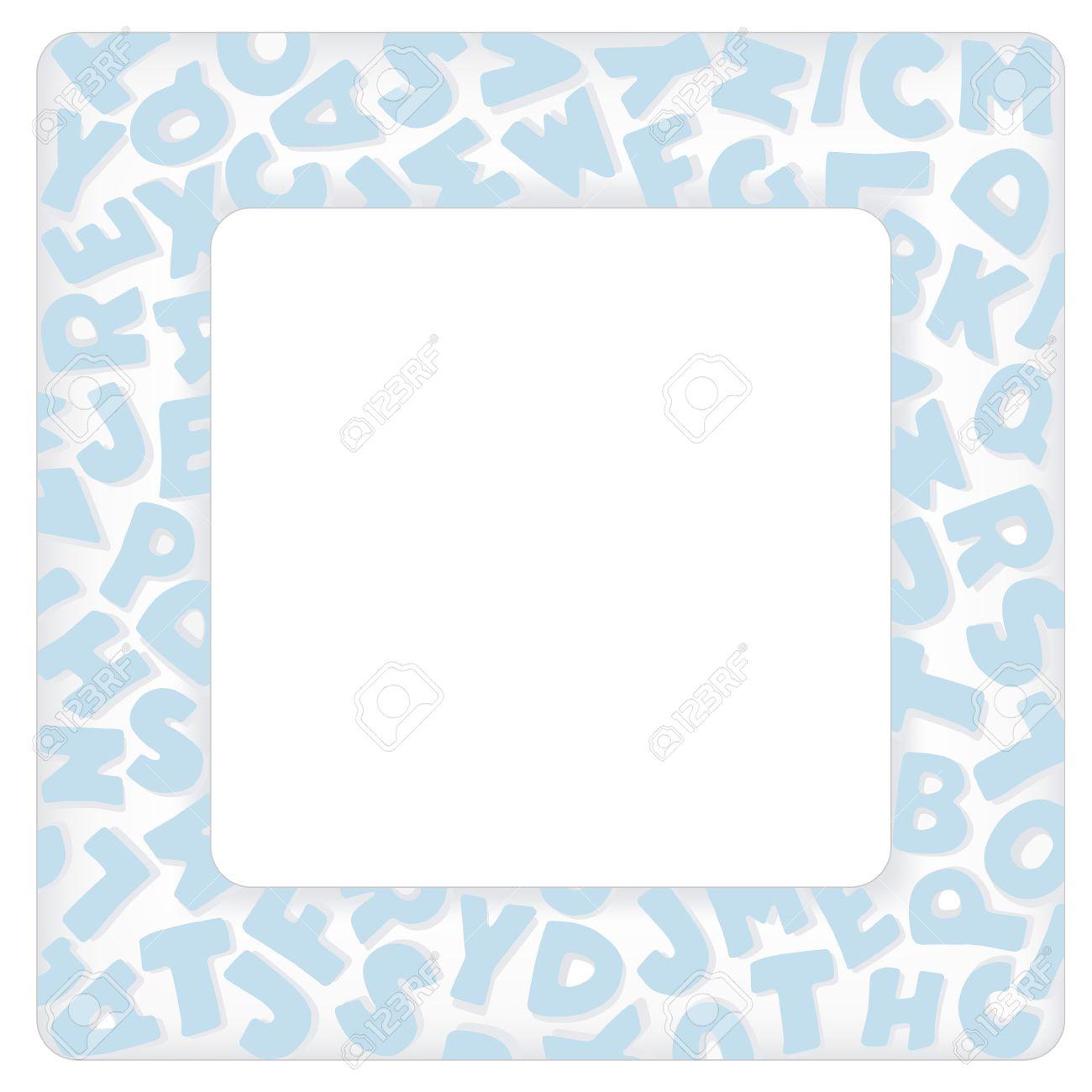 Marco Del Alfabeto, Cuadrado Azul Pastel Carta Frontera Con Copia ...