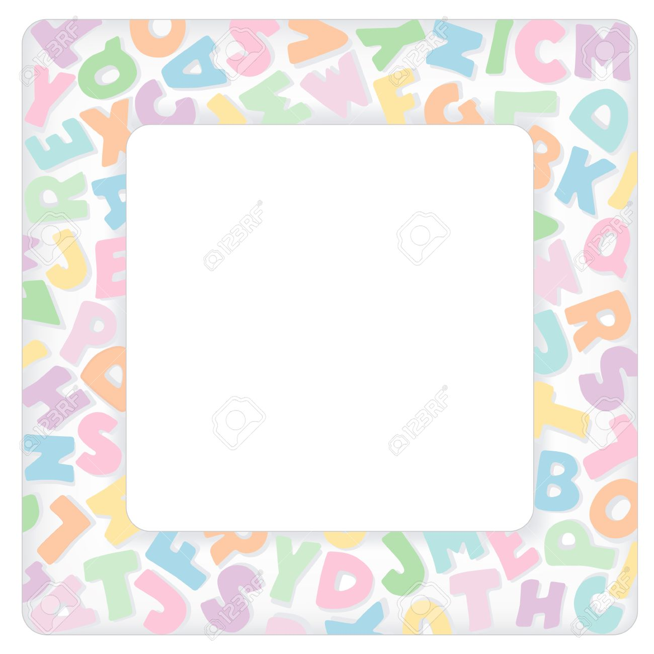 Alphabet frame square multicolor pastel letter border with copy do it yourself crafts alphabet frame square multicolor pastel letter border with copy space for baby books albums solutioingenieria Image collections