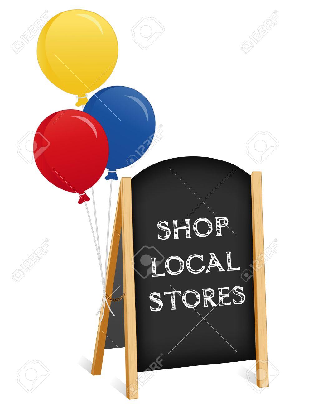 sign shop local stores chalk board balloons light wood frame folding sidewalk easel