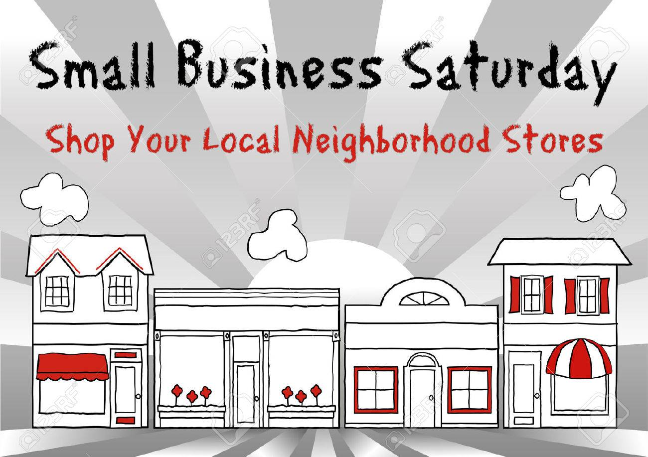 Small Business Saturday USA encourages shopping at small, local, main street stores and shops, ray background. - 34411539