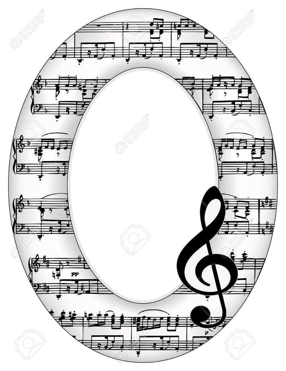 Musik Merkt Oval Bilderrahmen, Violinschlüssel Mit Kopie Platz Für ...
