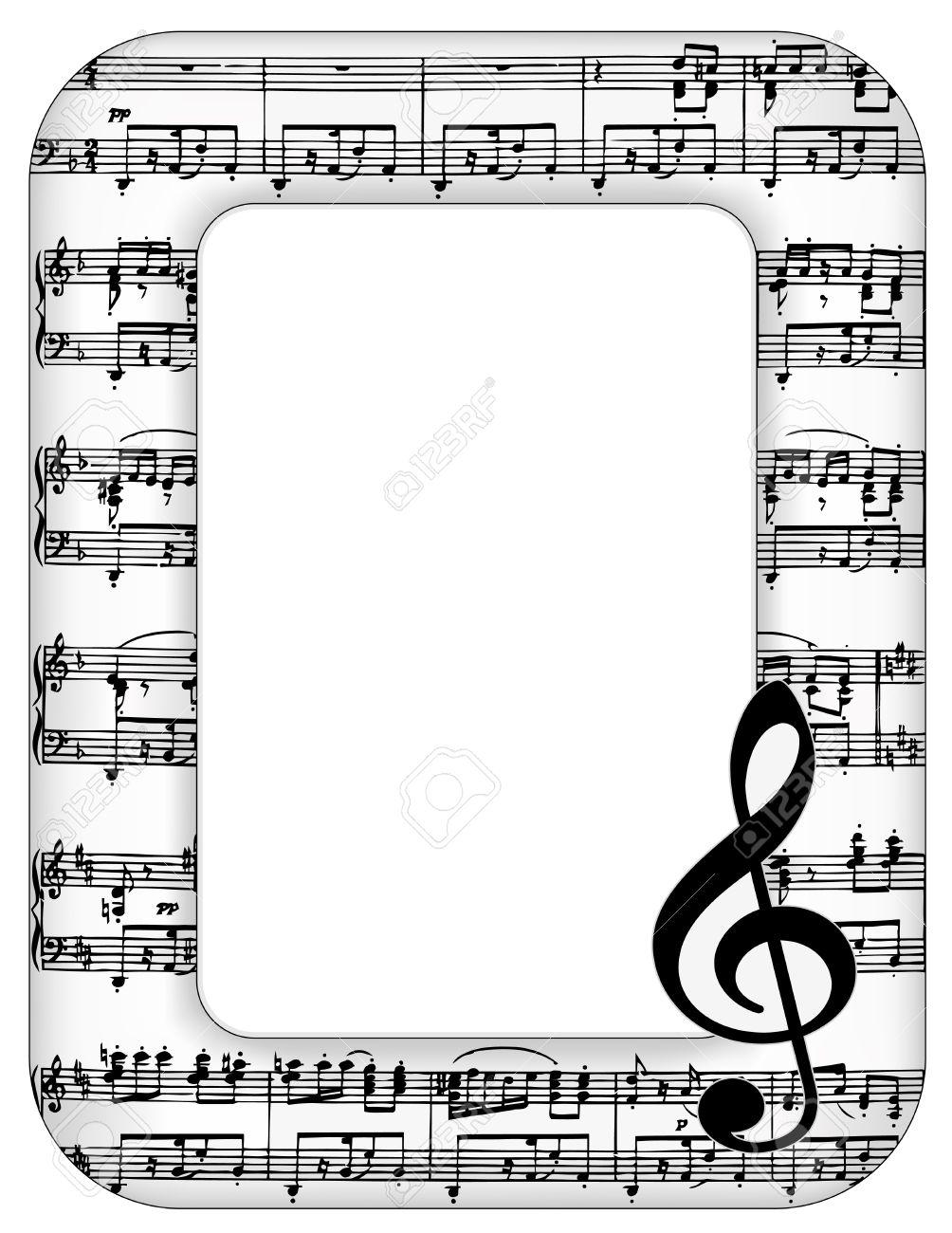 Musik-Anmerkungen, Bilderrahmen, Violinschlüssel Mit Kopie Platz Für ...